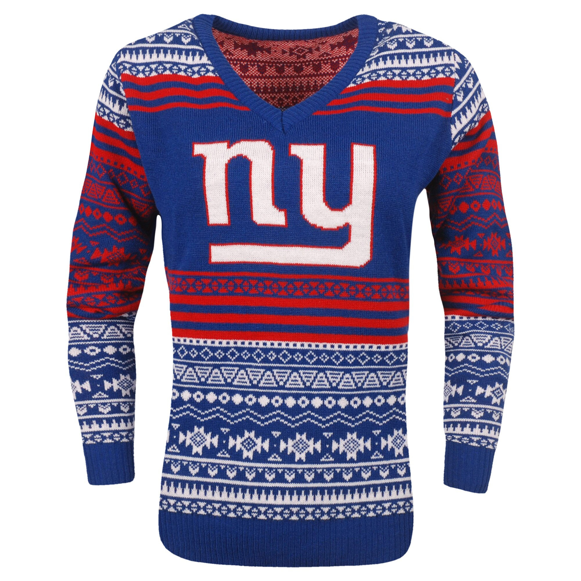 New York Giants Women's Big Logo Aztec V-Neck Sweater - Royal