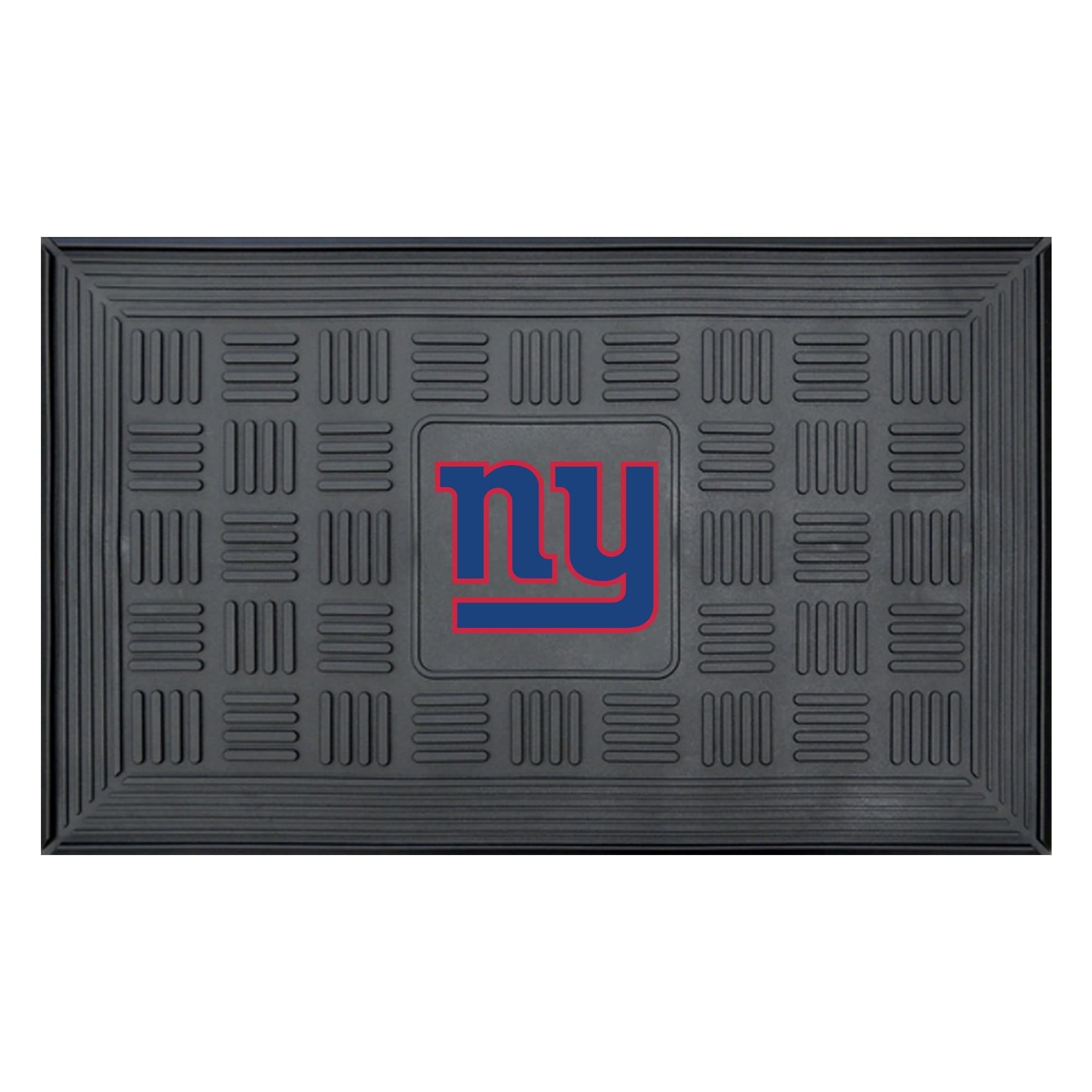 """New York Giants 19"""" x 30"""" Vinyl Medallion Door Mat - Black"""