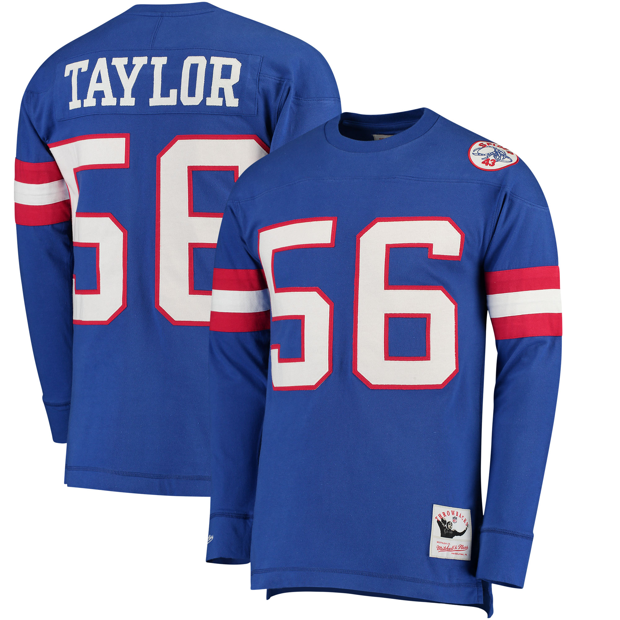 Lawrence Taylor New York Giants Mitchell & Ness Retired Player Name & Number Long Sleeve Top - Royal