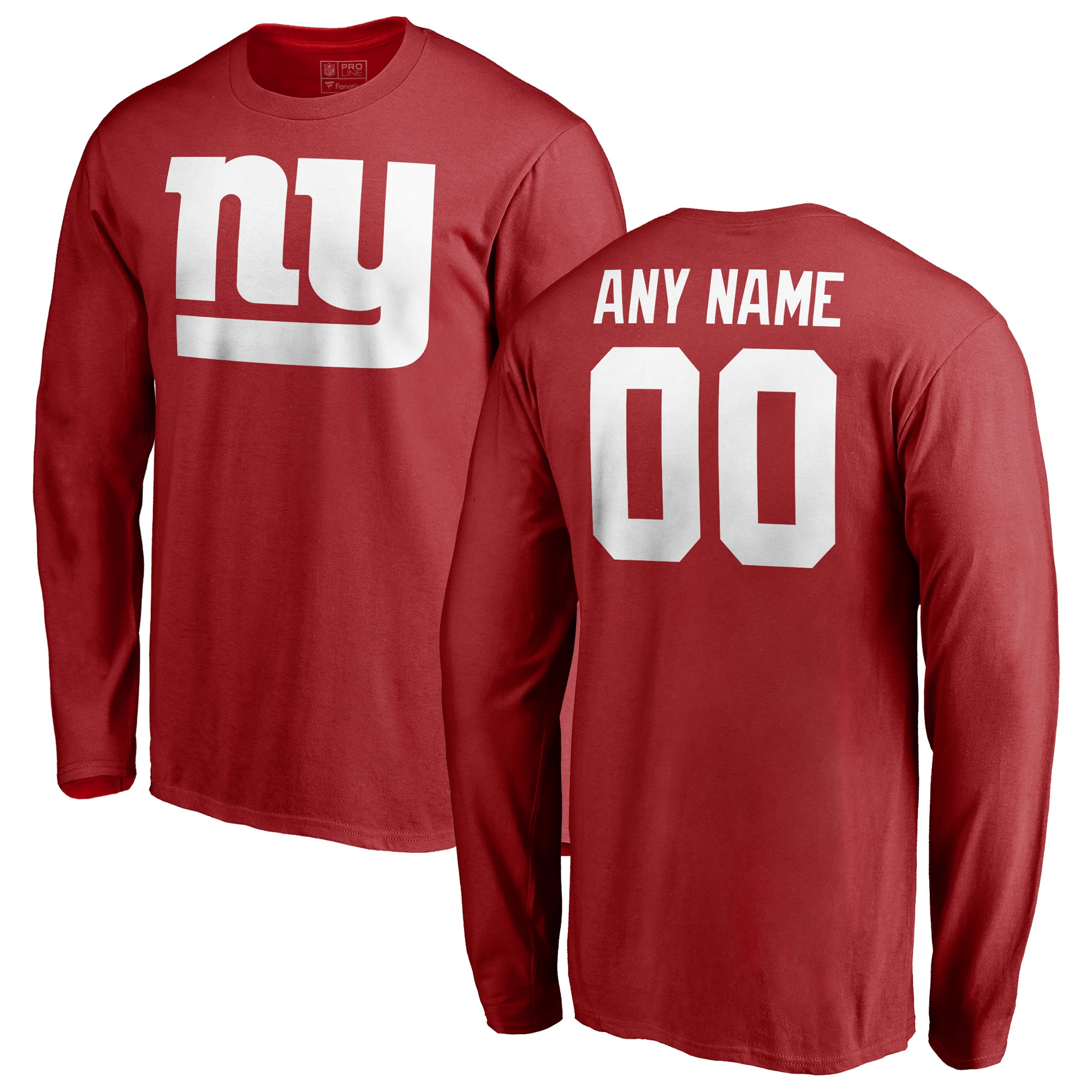 New York Giants NFL Pro Line Personalized Name & Number Logo Long Sleeve T-Shirt - Red