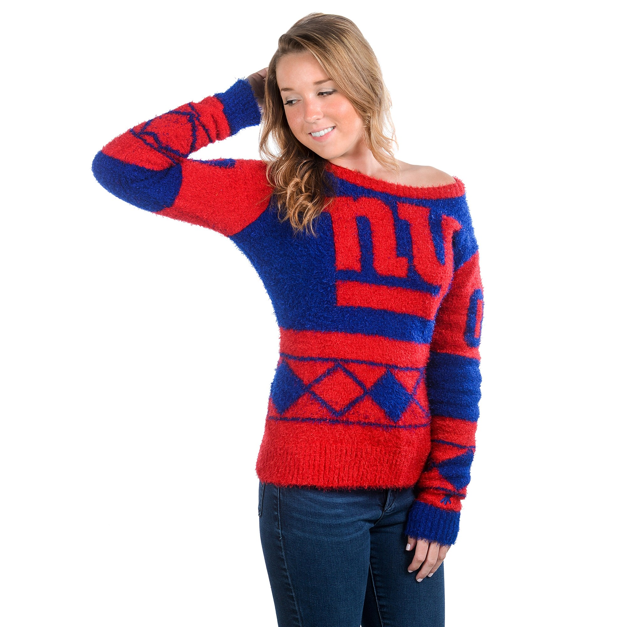 New York Giants Klew Women's Eyelash Crew Ugly Sweater - Royal Blue