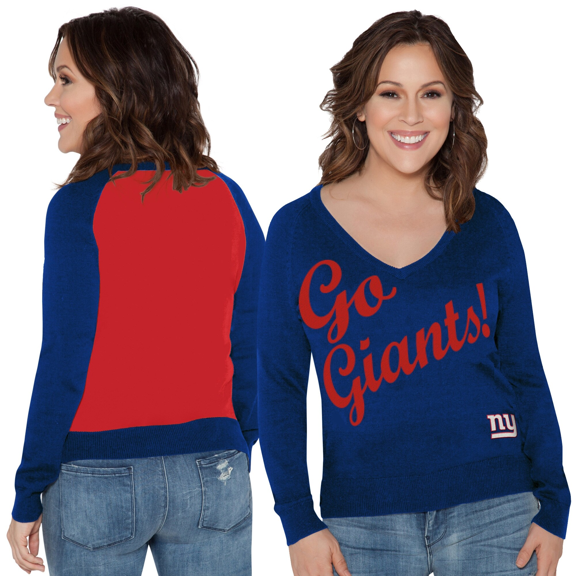 New York Giants Touch by Alyssa Milano Women's Plus Size MVP V-Neck Pullover Sweater - Royal