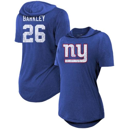Saquon Barkley New York Giants Majestic Threads Women's Hilo Name & Number Hoodie T-Shirt - Royal