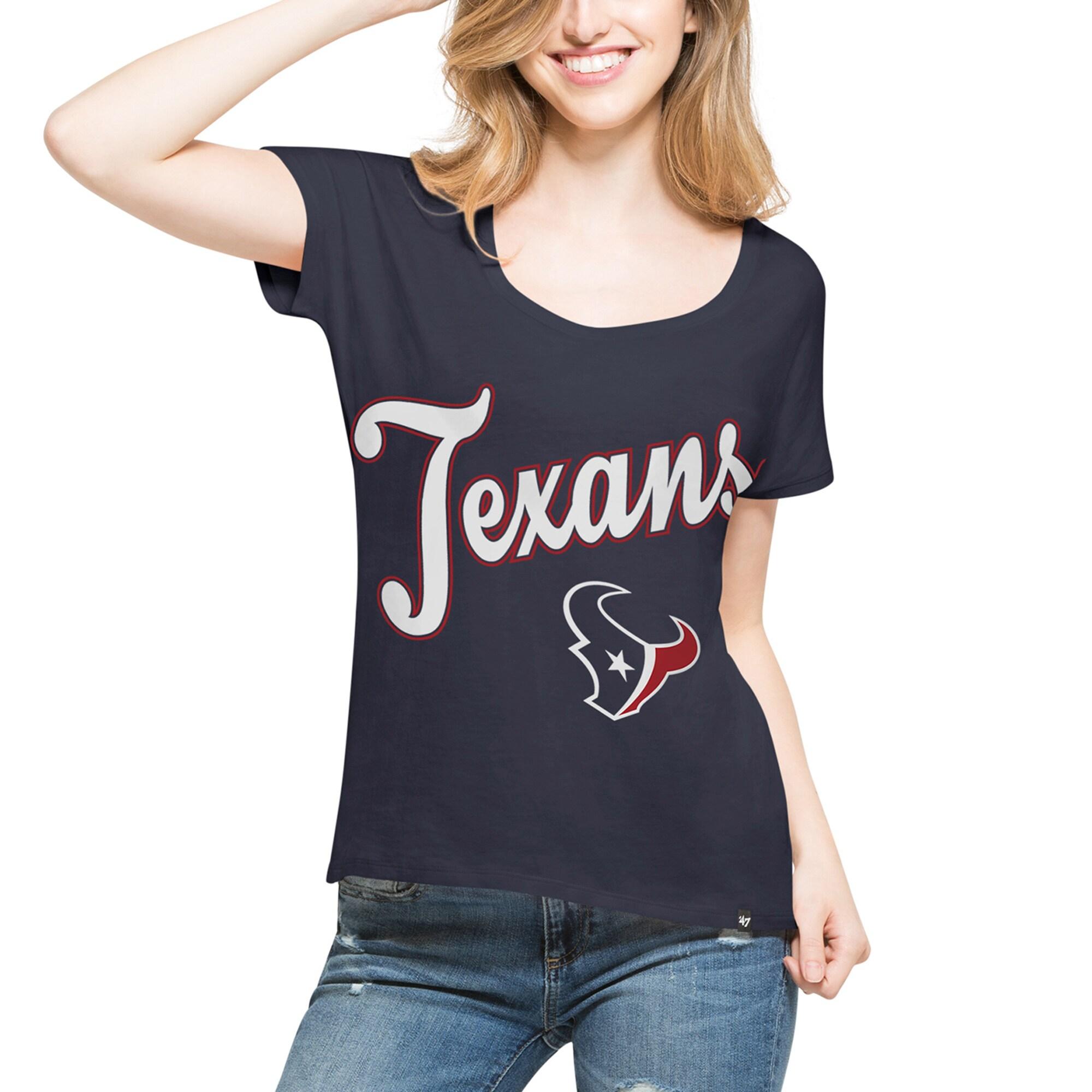 Houston Texans '47 Women's Flair Roundoff T-Shirt - Navy