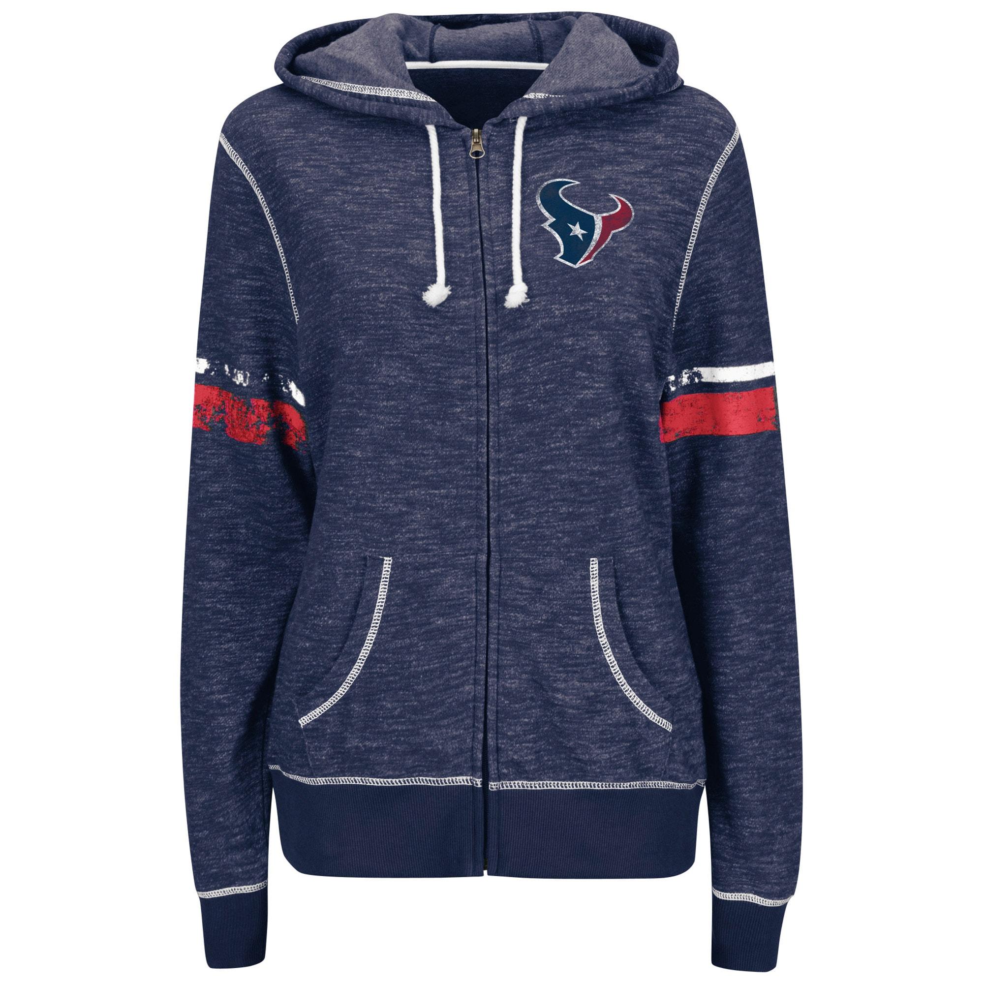 Houston Texans Majestic Women's Athletic Tradition Full-Zip Hoodie - Navy