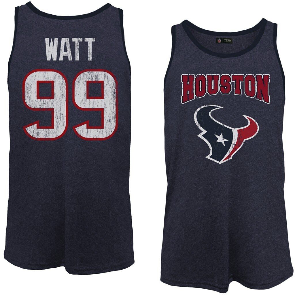 J.J. Watt Houston Texans Majestic Tri-Blend Wordmark Name & Number Tank Top - Navy