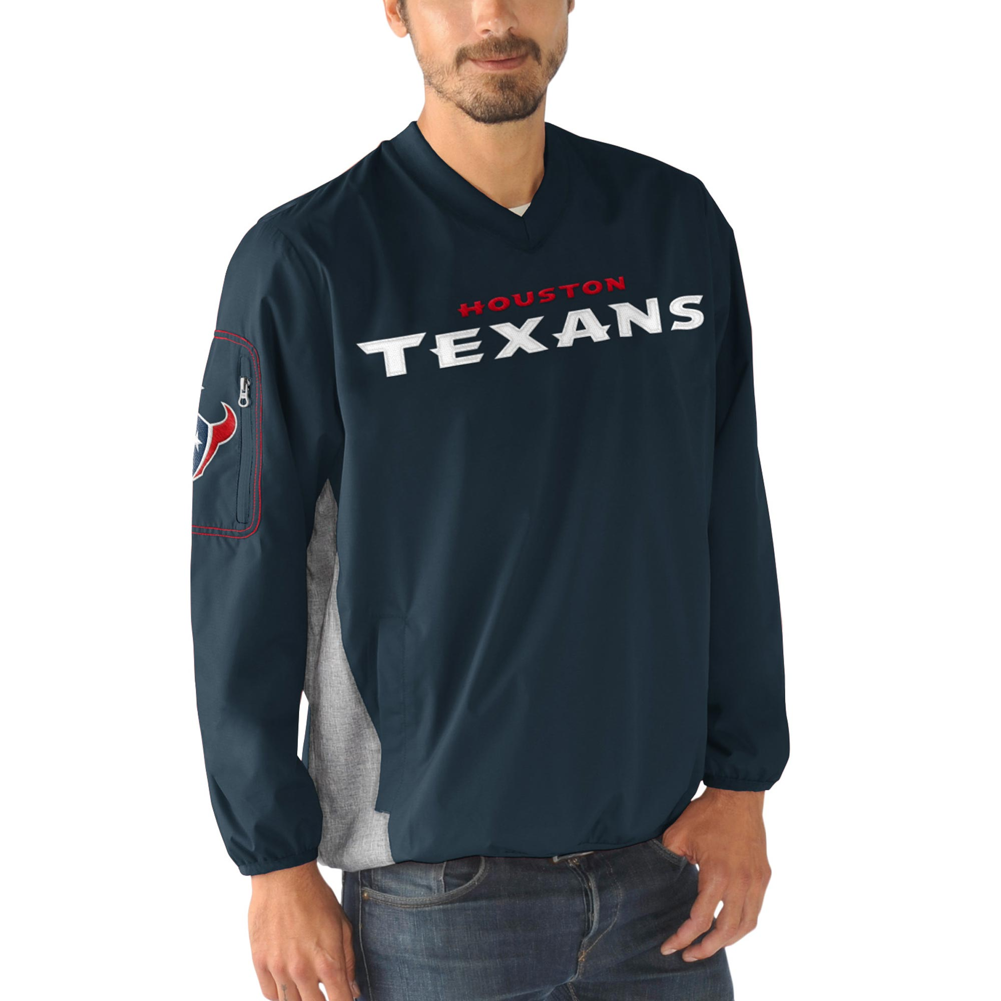Houston Texans G-III Sports by Carl Banks Gridiron V-Neck Pullover Sweatshirt - Navy