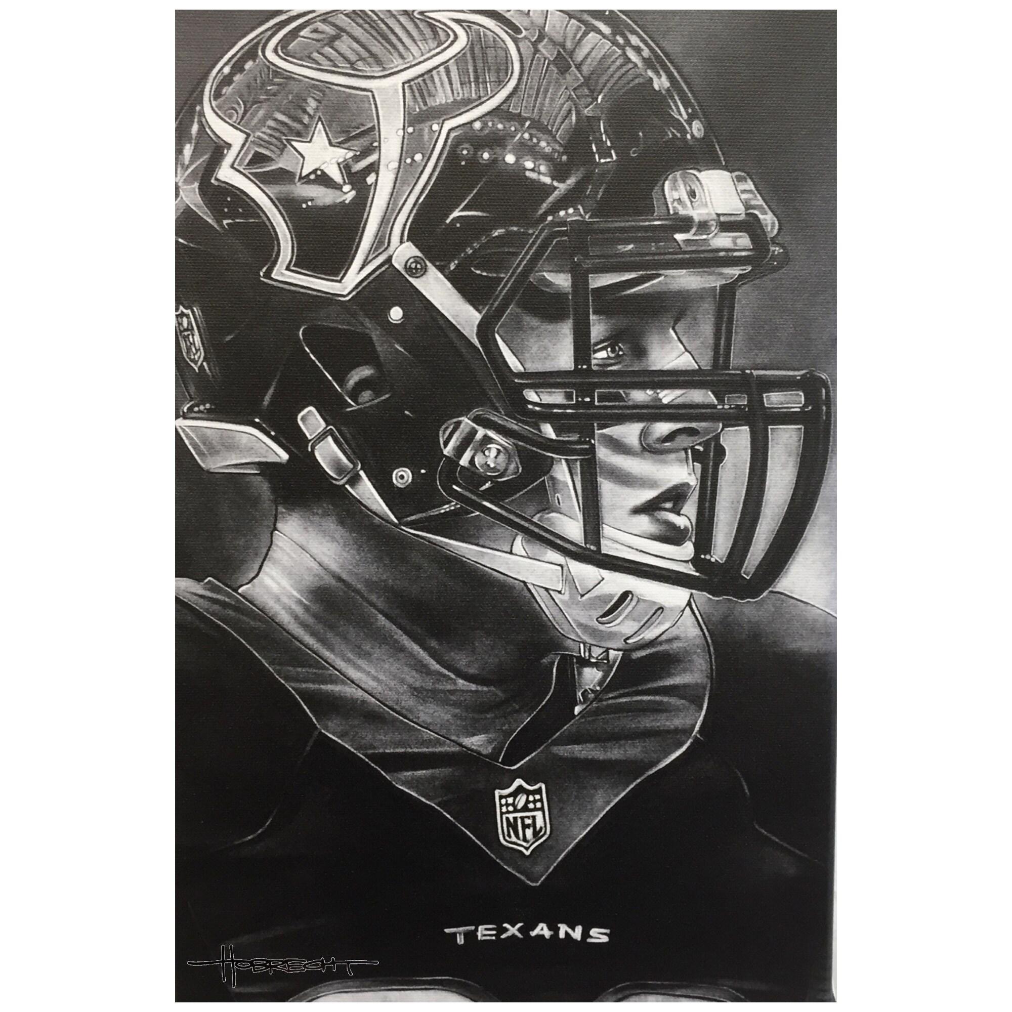 "Houston Texans Deacon Jones Foundation 14"" x 9"" Helmet Series Fine Art Giclée Canvas"