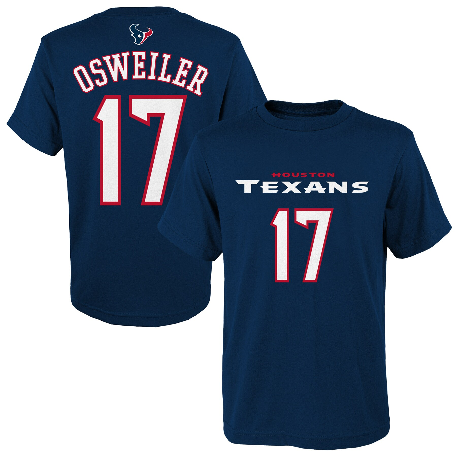 Brock Osweiler Houston Texans Youth Mainliner Name & Number T-Shirt - Navy