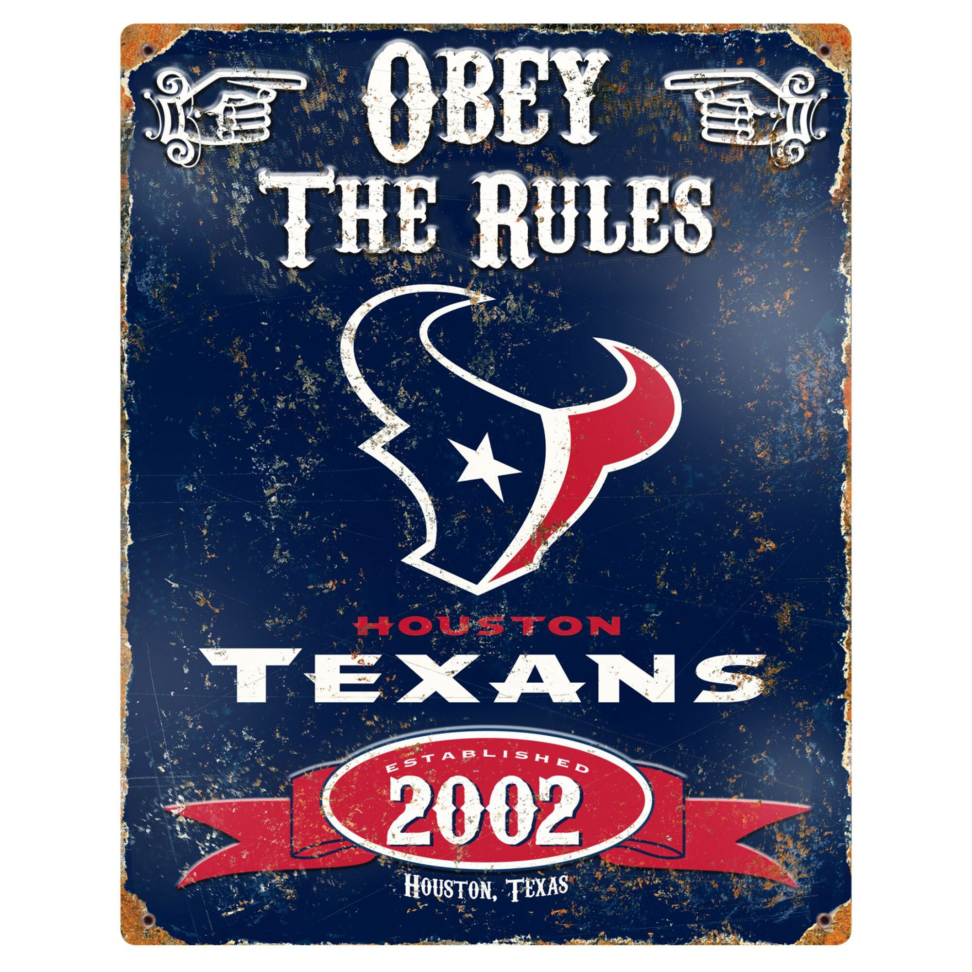 Houston Texans 14.5'' x 11.5'' Embossed Metal Sign