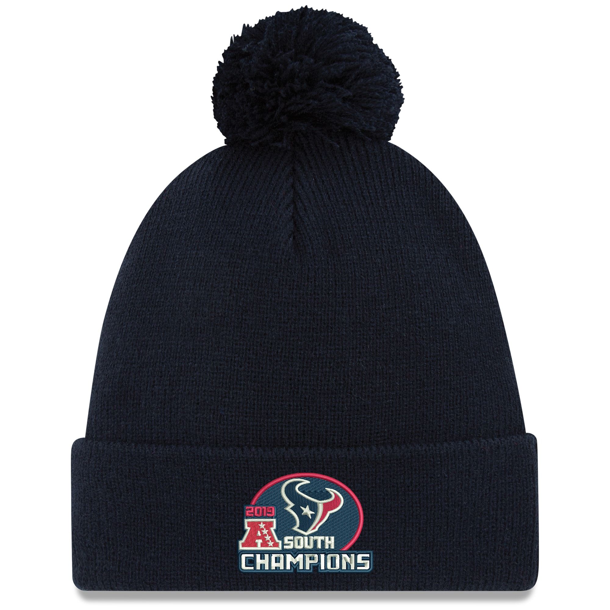 Houston Texans New Era 2019 AFC South Division Champions Cuffed Pom Knit Hat - Navy