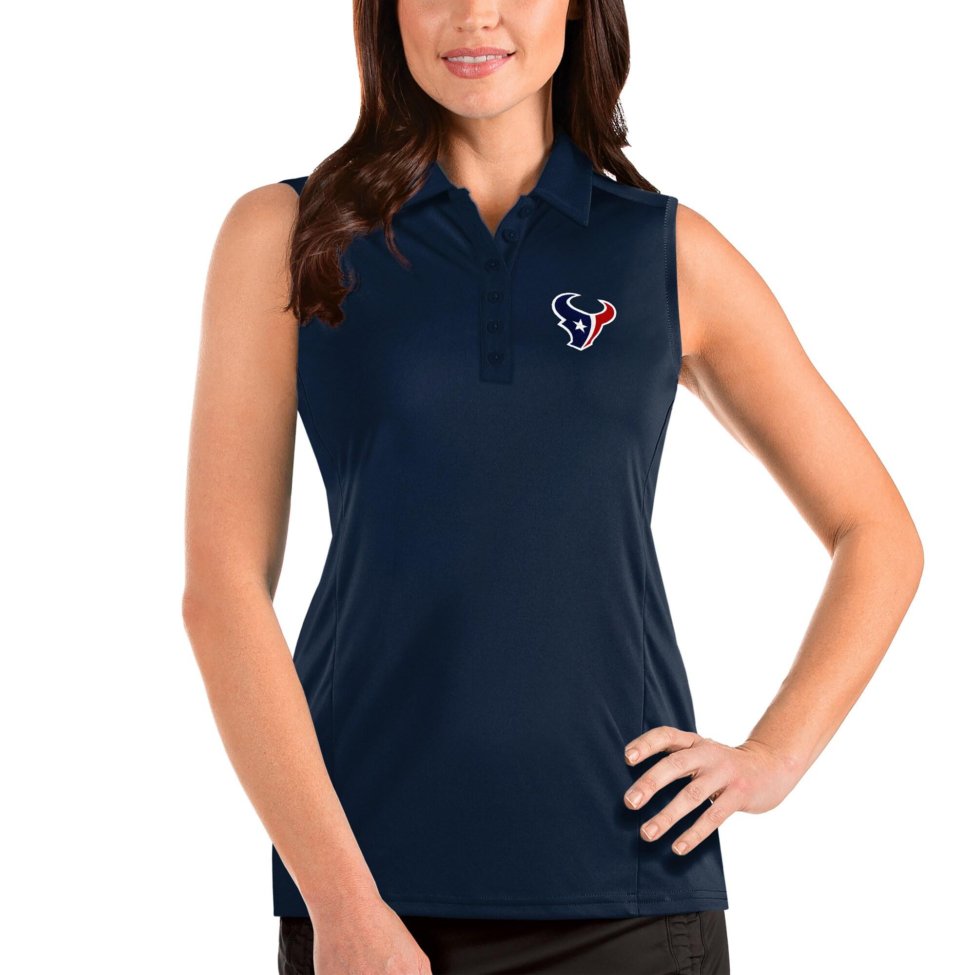 Houston Texans Antigua Women's Sleeveless Tribute Polo - Navy