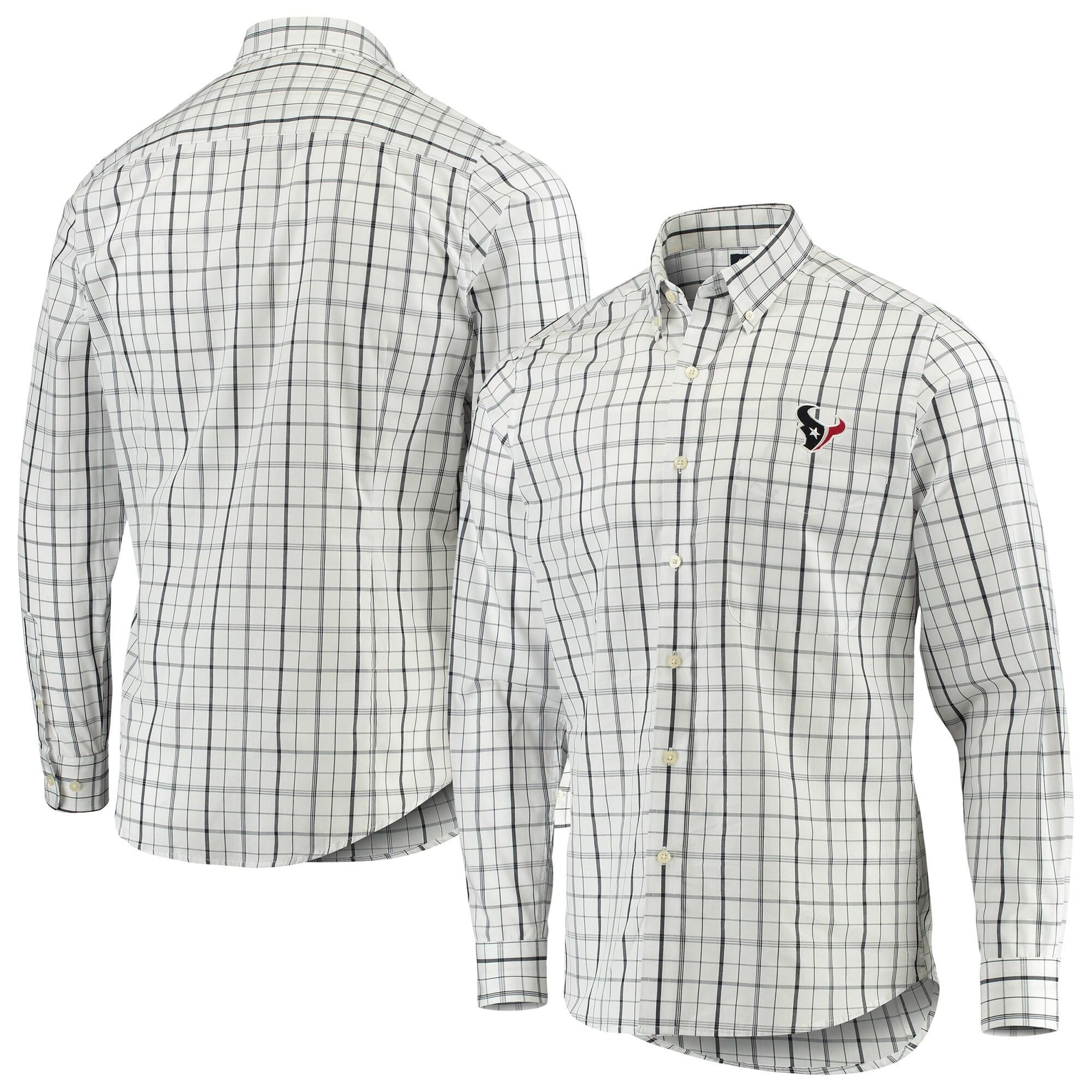 Houston Texans Antigua Keen Long Sleeve Button-Down Shirt - White/Navy