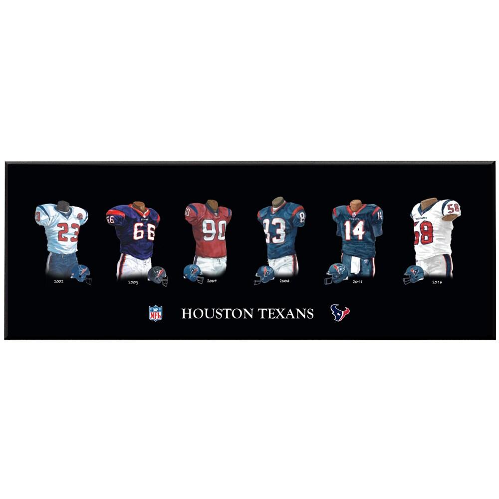 Houston Texans 8'' x 24'' Uniform Evolution Plaque