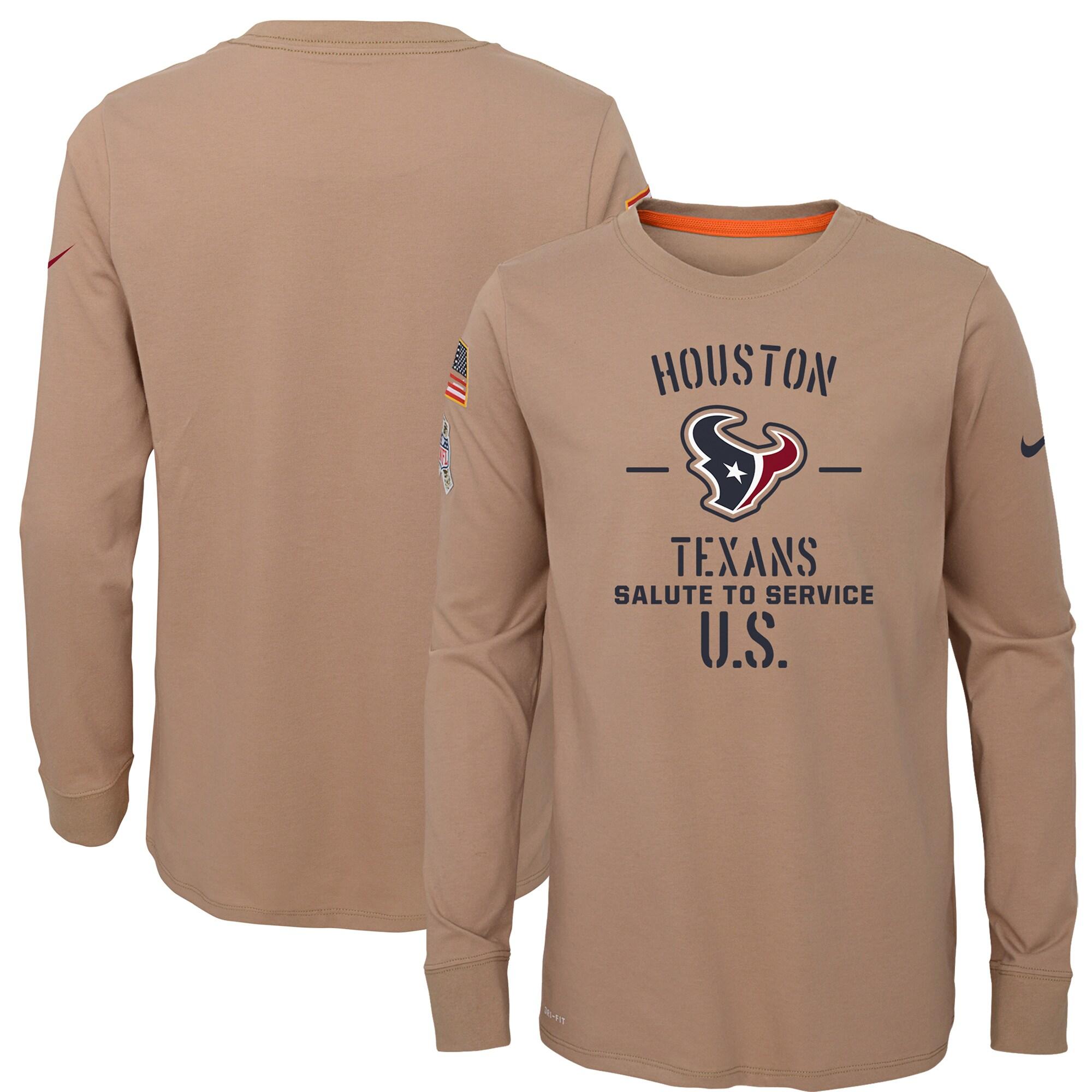 Houston Texans Nike Youth 2019 Salute to Service Performance Long Sleeve T-Shirt - Khaki