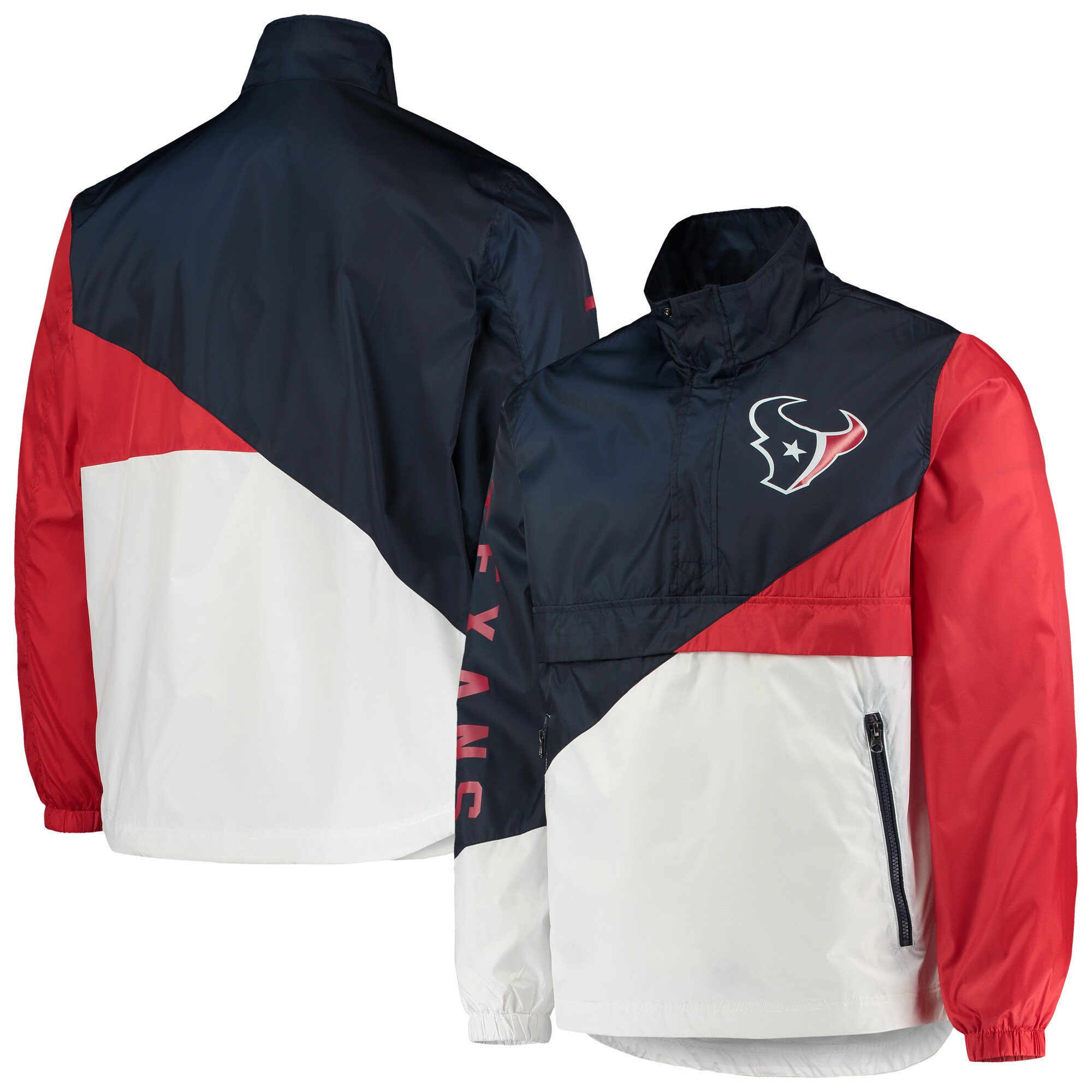 Houston Texans G-III Sports by Carl Banks Double Team Half-Zip Pullover Jacket - Navy/White