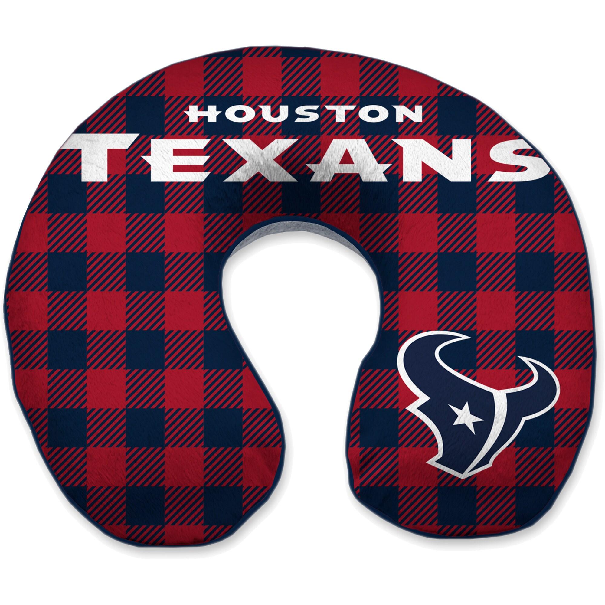 Houston Texans Buffalo Check Sherpa Memory Foam Travel Pillow - Blue