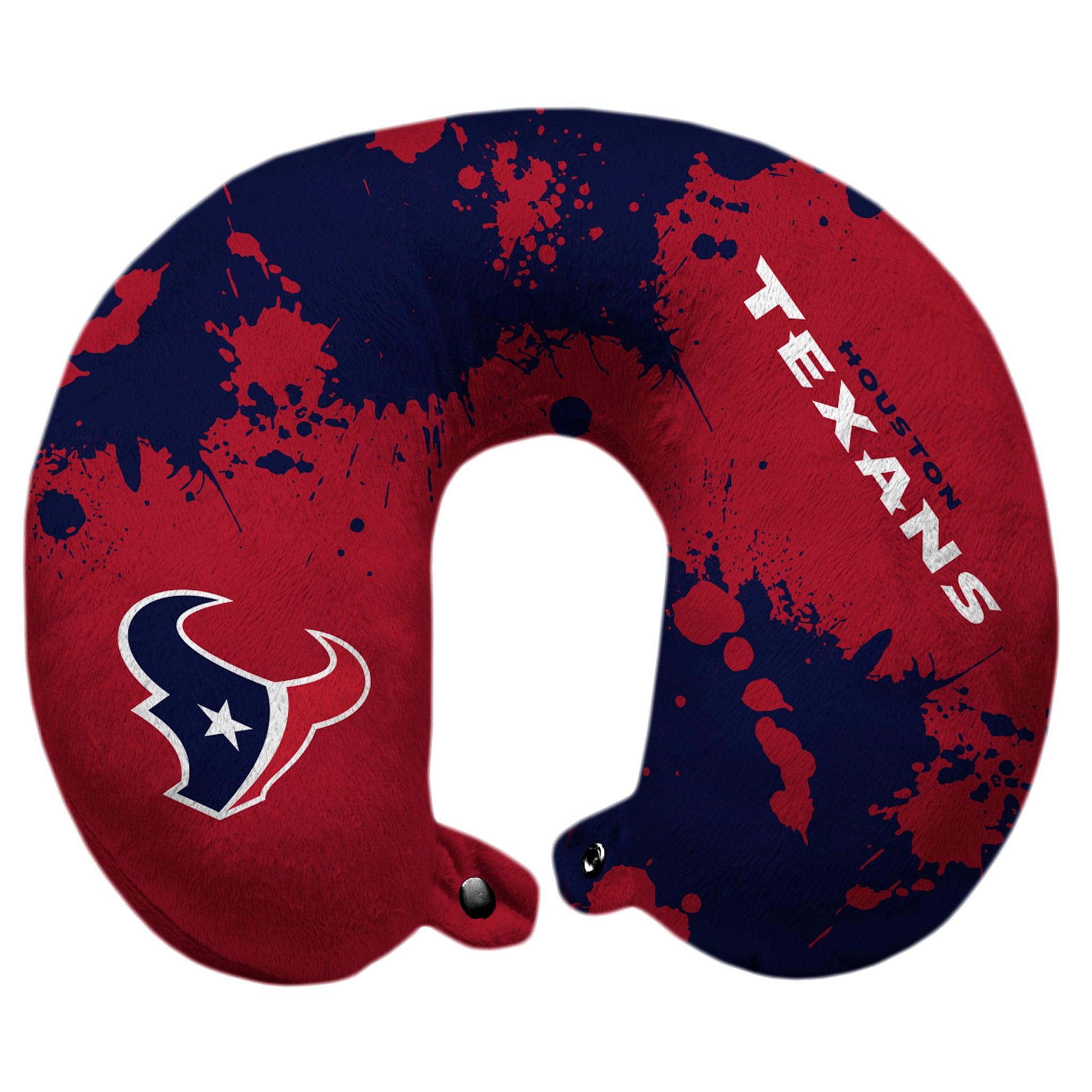 Houston Texans Splatter Polyester Snap Closure Travel Pillow - Blue