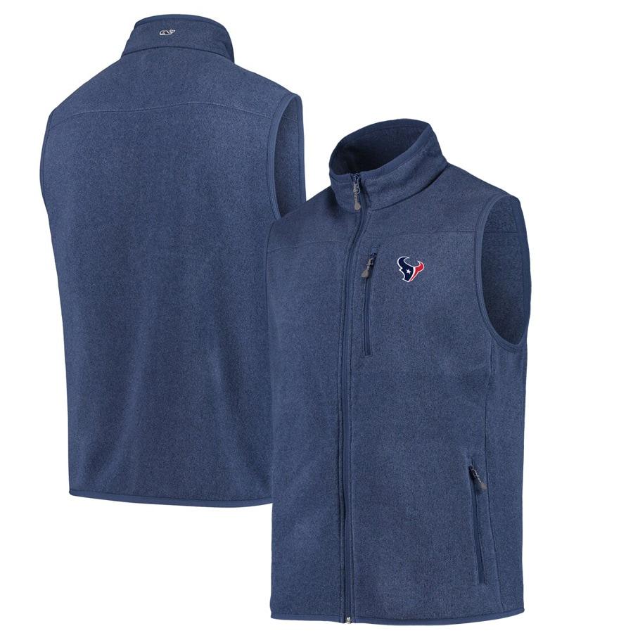 Houston Texans Vineyard Vines Fleece Full-Zip Sweater Vest - Navy