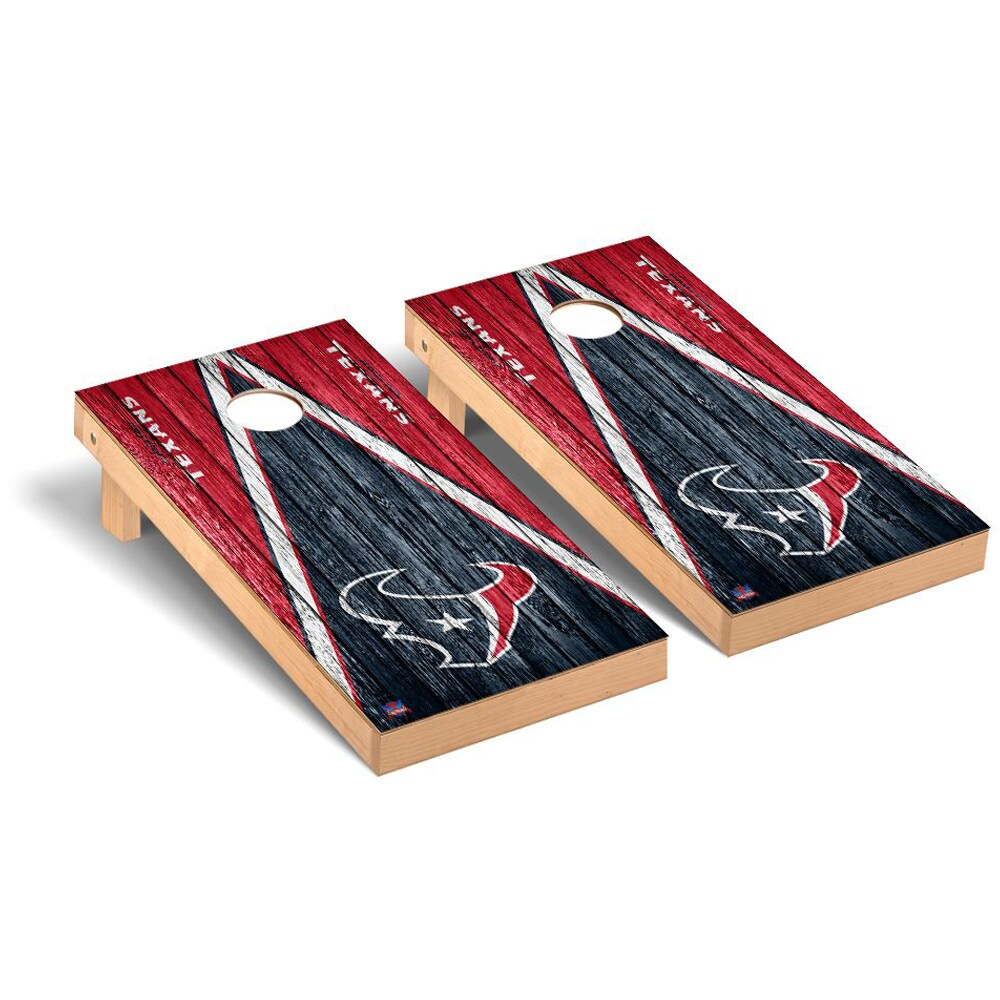 Houston Texans 2' x 4' Triangle Weathered Regulation Cornhole Board Tailgate Toss Set