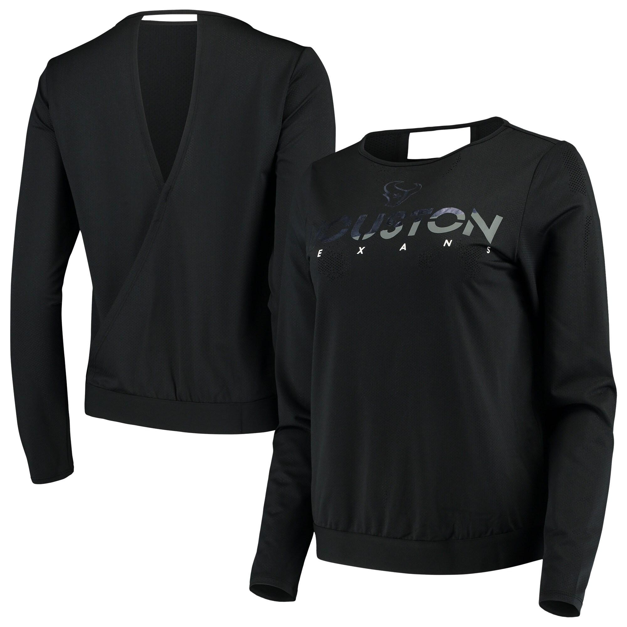 Houston Texans Touch by Alyssa Milano Women's Breeze Back Long Sleeve V-Neck T-Shirt - Black