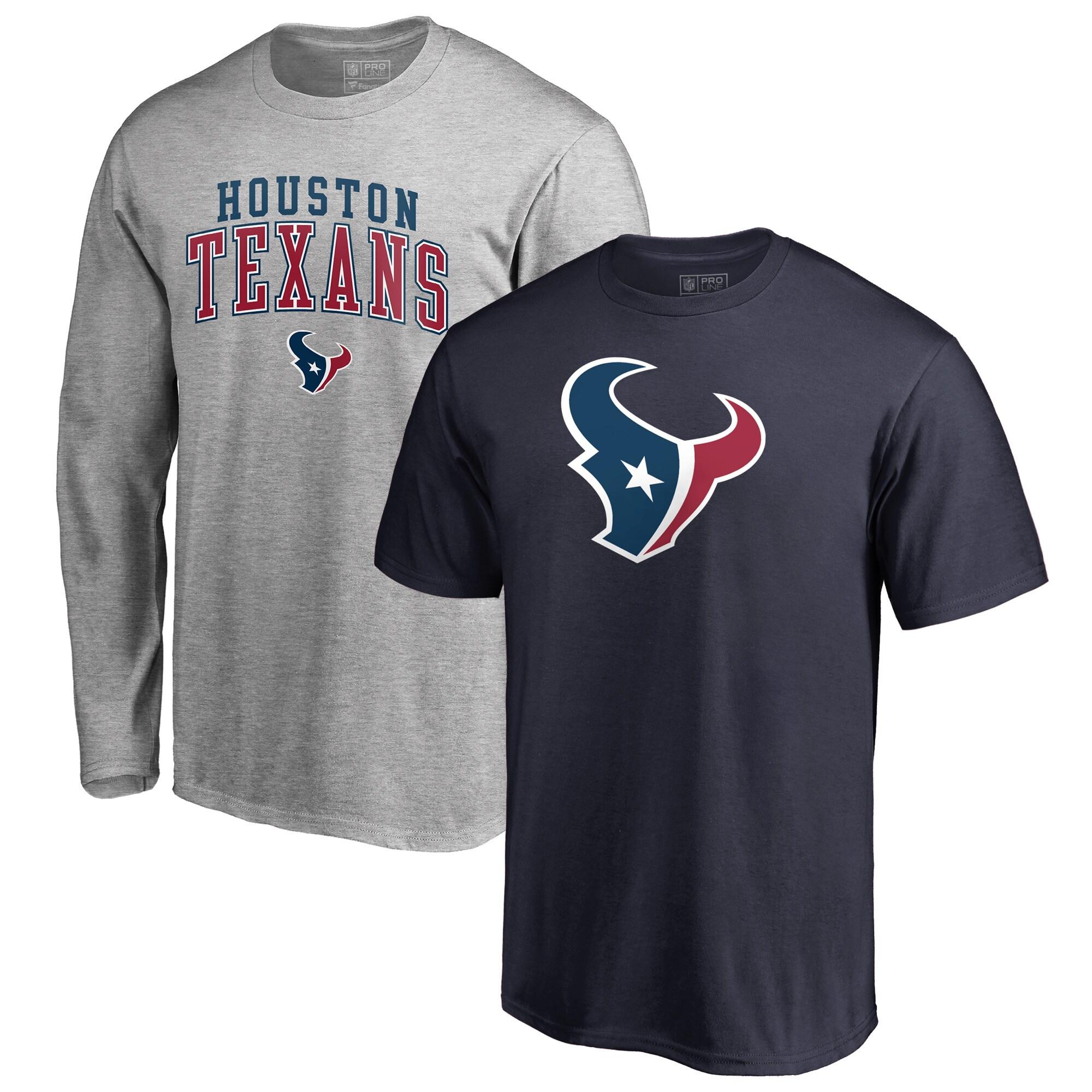 Houston Texans NFL Pro Line by Fanatics Branded Square Up T-Shirt Combo Set - Navy/Gray