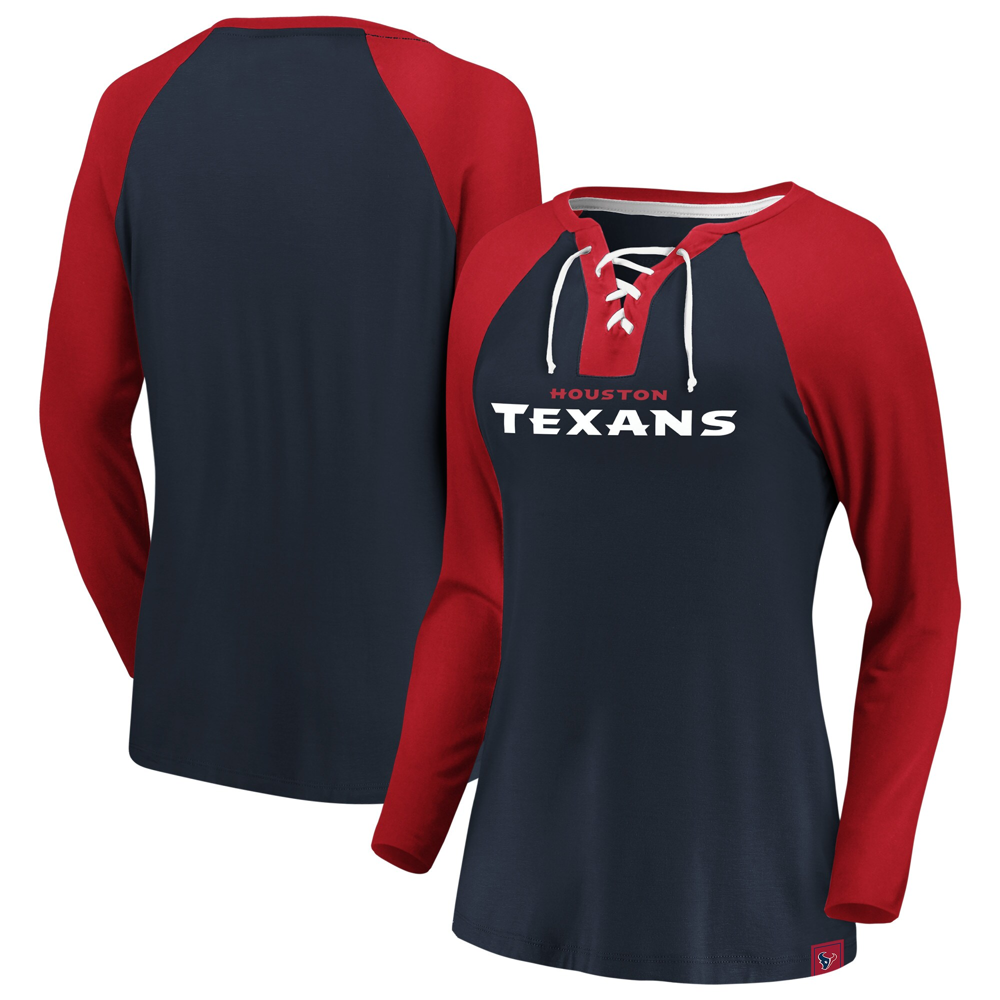 Houston Texans NFL Pro Line by Fanatics Branded Women's Break Out Play Lace-Up V-Neck Raglan Long Sleeve T-Shirt - Navy/Red