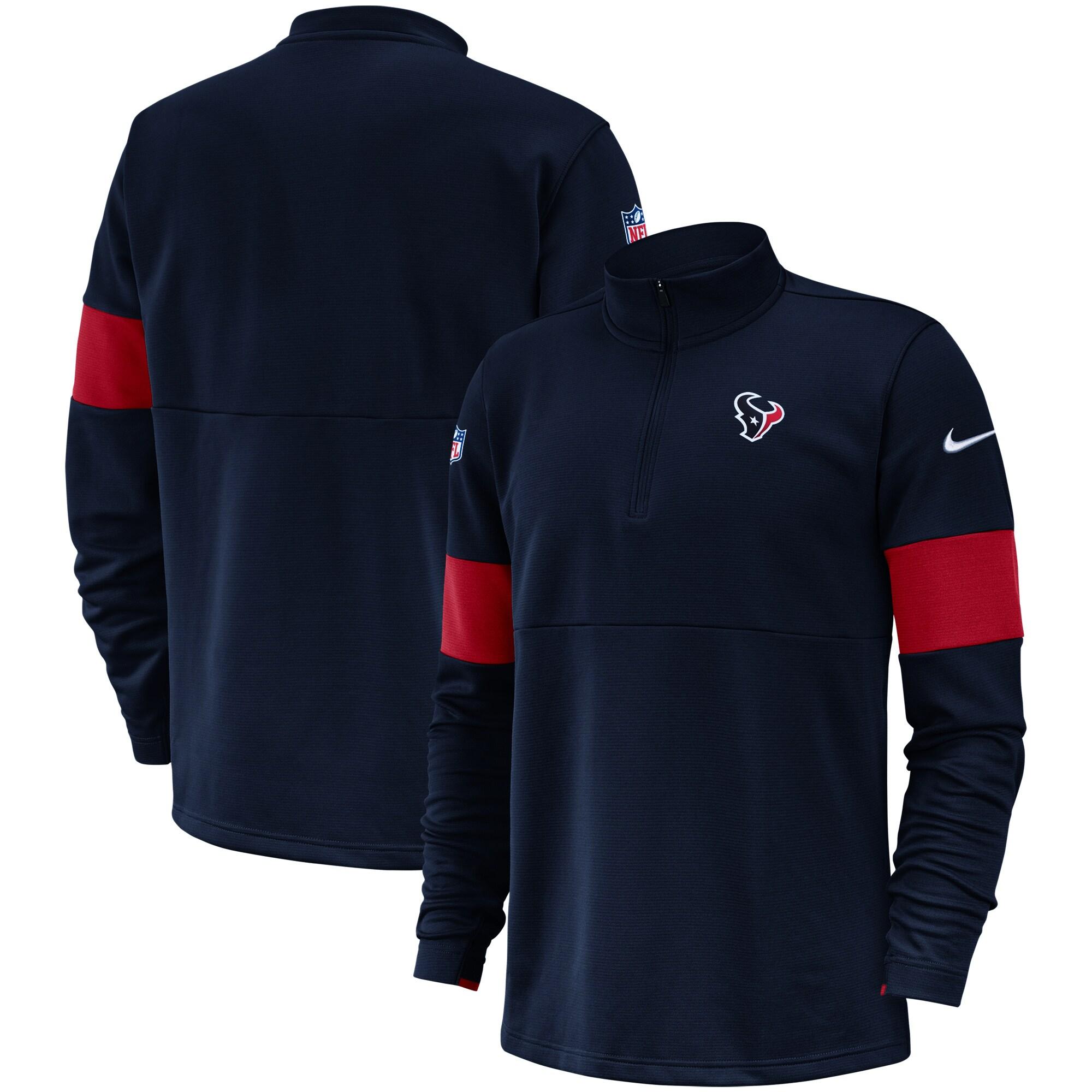 Houston Texans Nike Sideline Performance Half-Zip Pullover Jacket - Navy