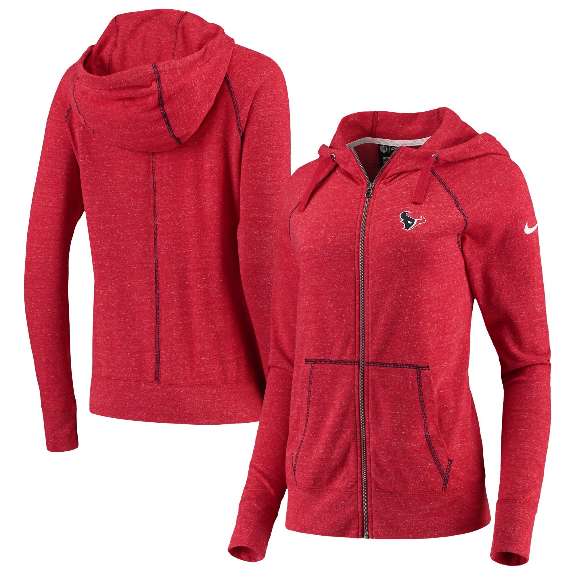 Houston Texans Nike Women's Gym Vintage Raglan Full-Zip Hoodie - Heathered Red