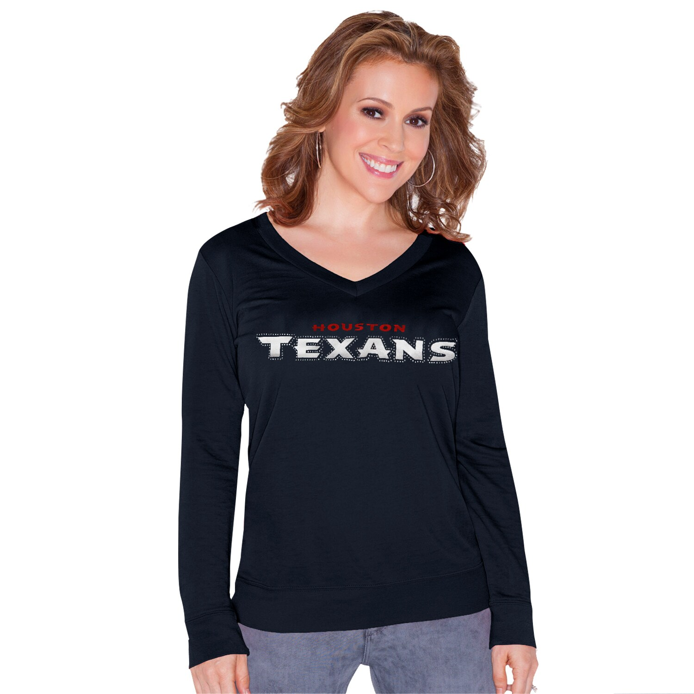 Houston Texans Touch by Alyssa Milano Women's Lana V-Neck Pullover Sweatshirt - Navy Blue