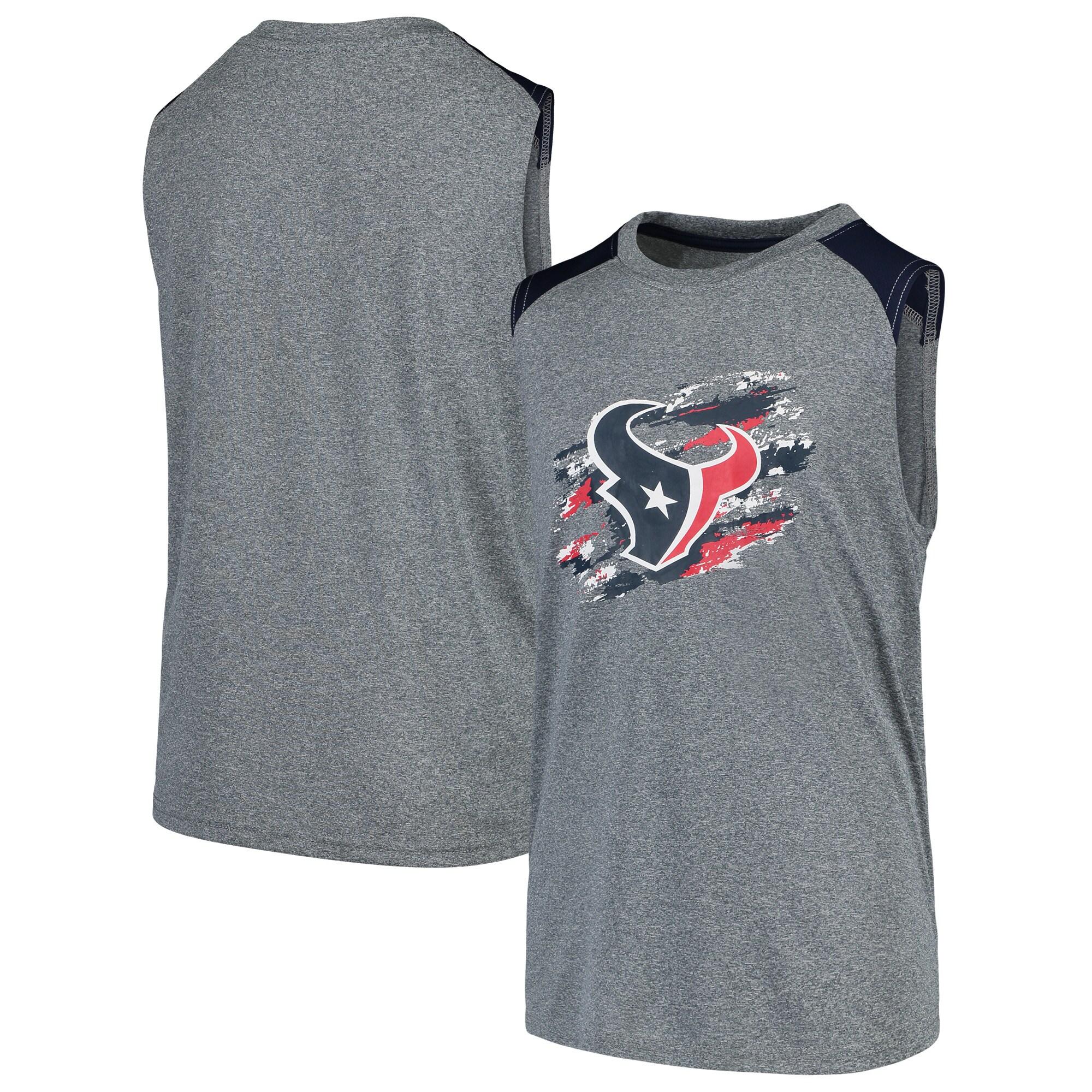 Houston Texans NFL Pro Line by Fanatics Branded Youth True Colors Sleeveless T-Shirt - Heathered Gray