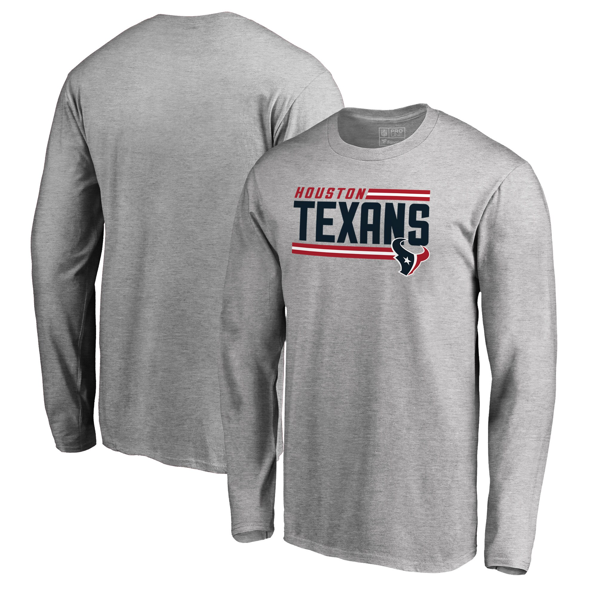 Houston Texans NFL Pro Line by Fanatics Branded Iconic Collection On Side Stripe Long Sleeve T-Shirt - Ash