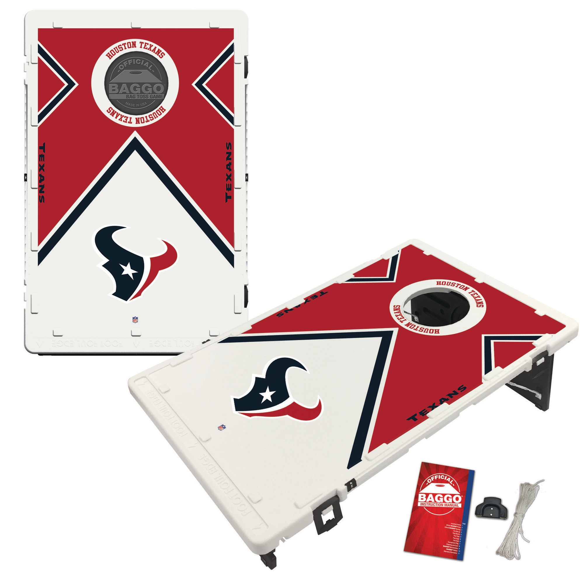 Houston Texans 2' x 3' BAGGO Vintage Cornhole Board Tailgate Toss Set