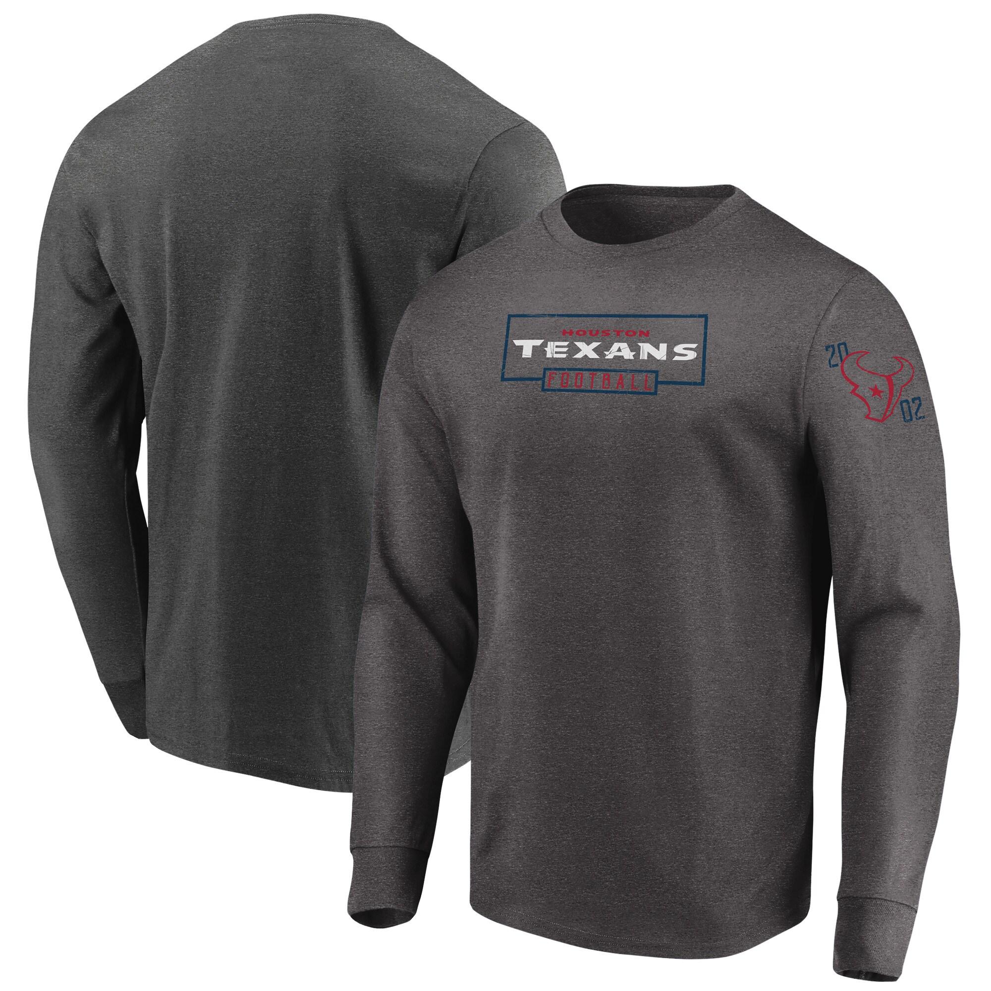 Houston Texans Majestic Big & Tall Kick Return Long Sleeve T-Shirt - Heathered Charcoal