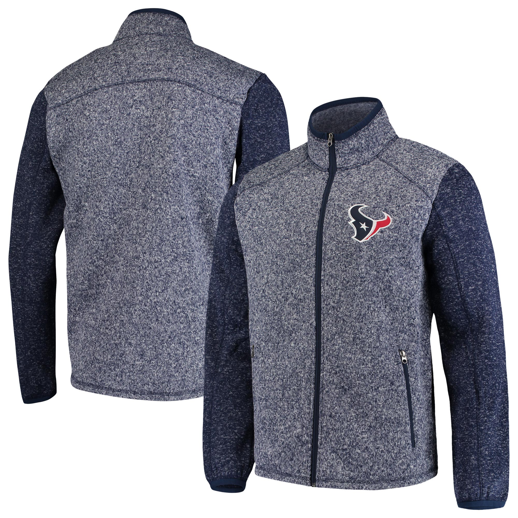 Houston Texans G-III Sports by Carl Banks Alpine Zone Sweater Fleece Full-Zip Jacket - Heathered Navy