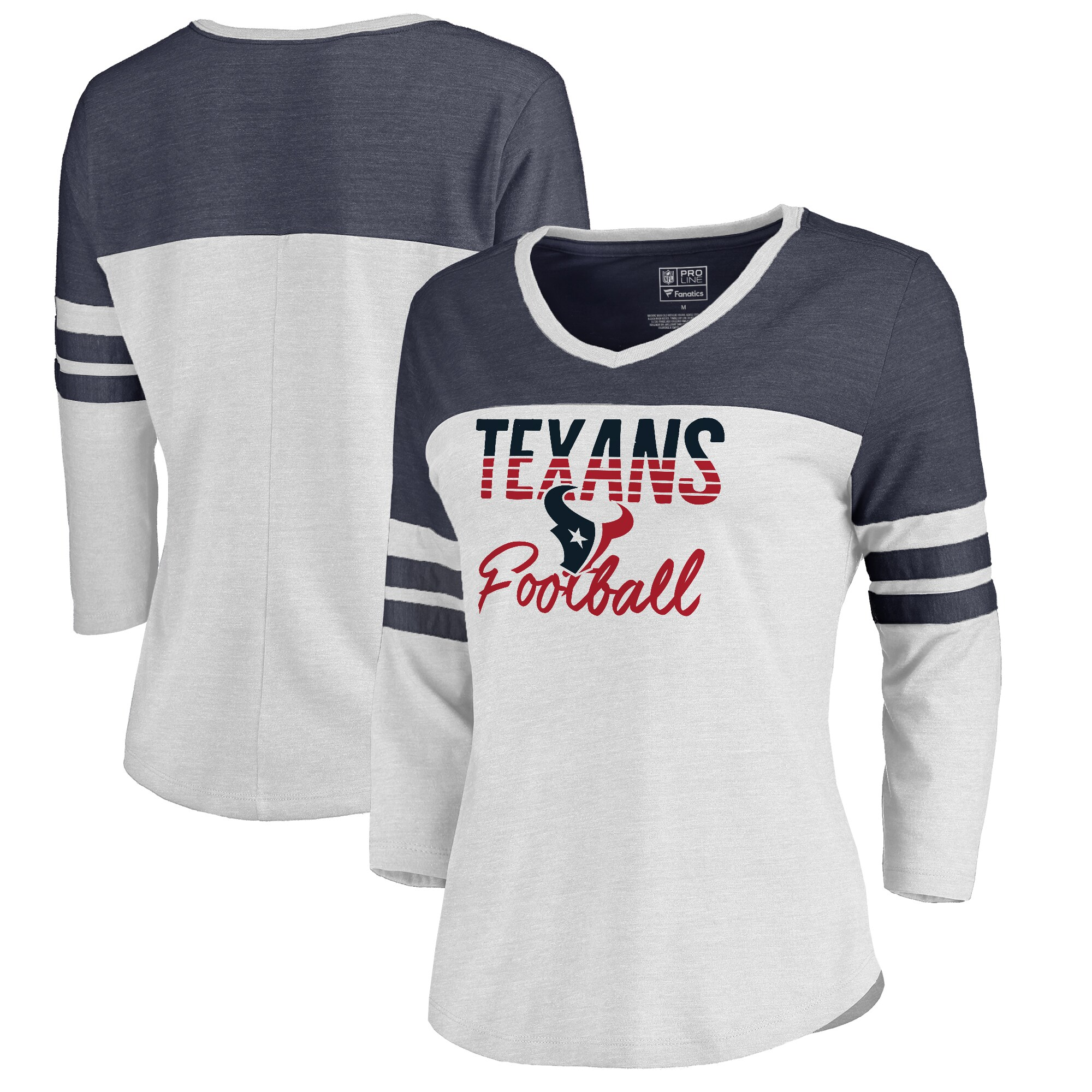 Houston Texans NFL Pro Line by Fanatics Branded Women's Plus Size Color Block 3/4 Sleeve Tri-Blend T-Shirt - White