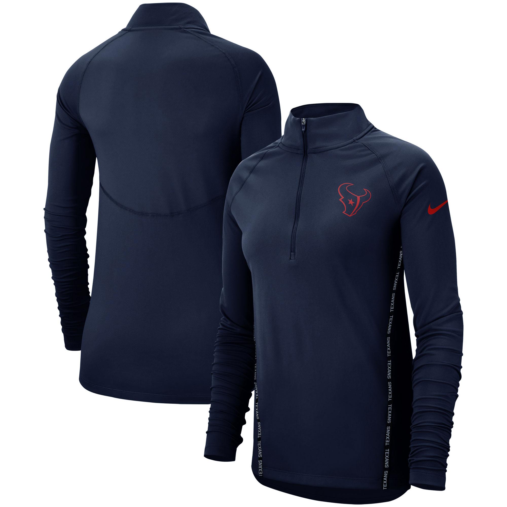 Houston Texans Nike Women's Core Half-Zip Pullover Jacket - Navy