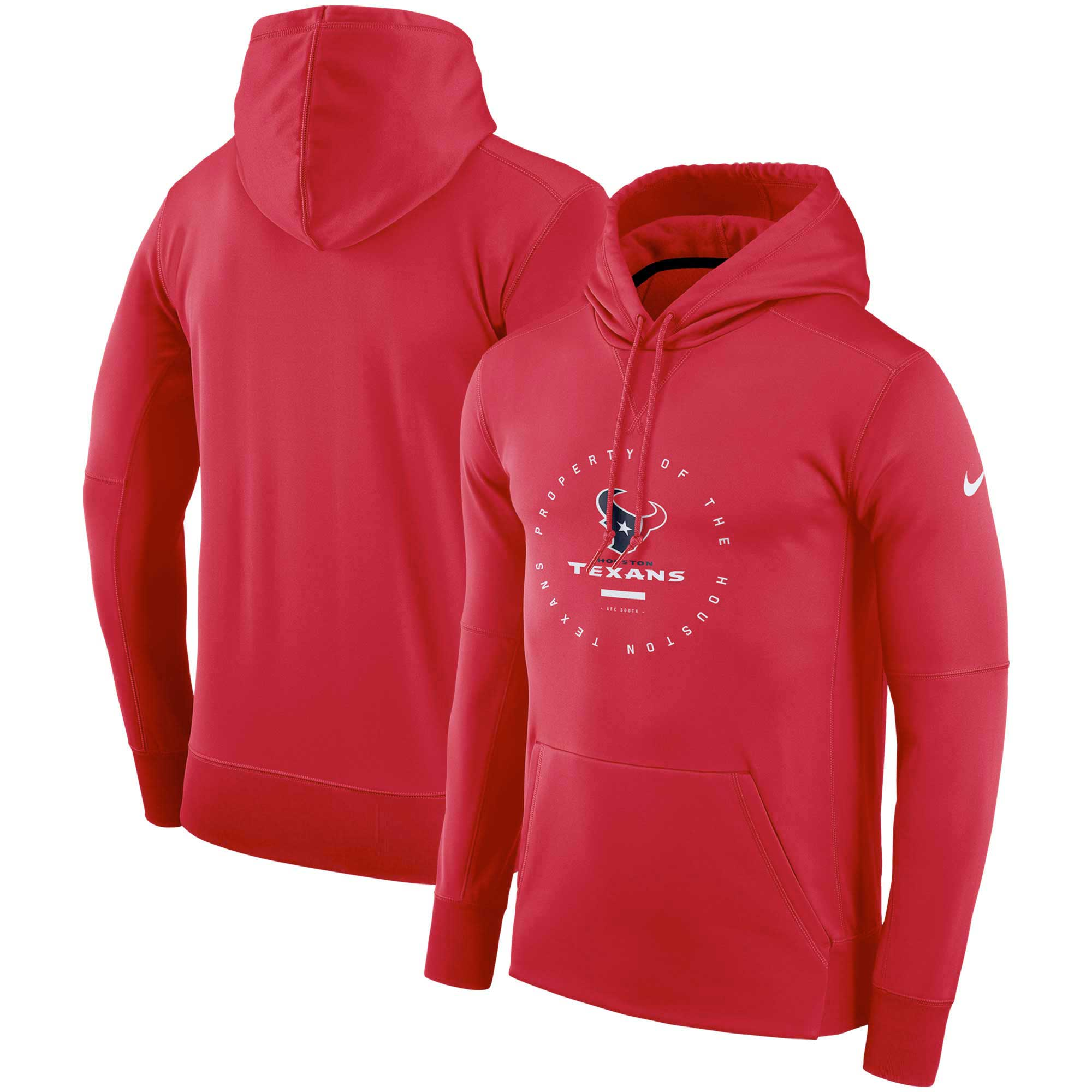 Houston Texans Nike Sideline Property Of Wordmark Logo Performance Pullover Hoodie - Red