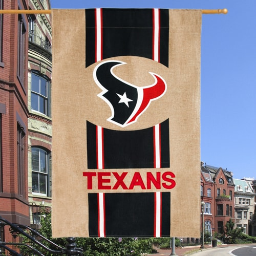 "Houston Texans 28"" x 44"" Burlap House Flag"