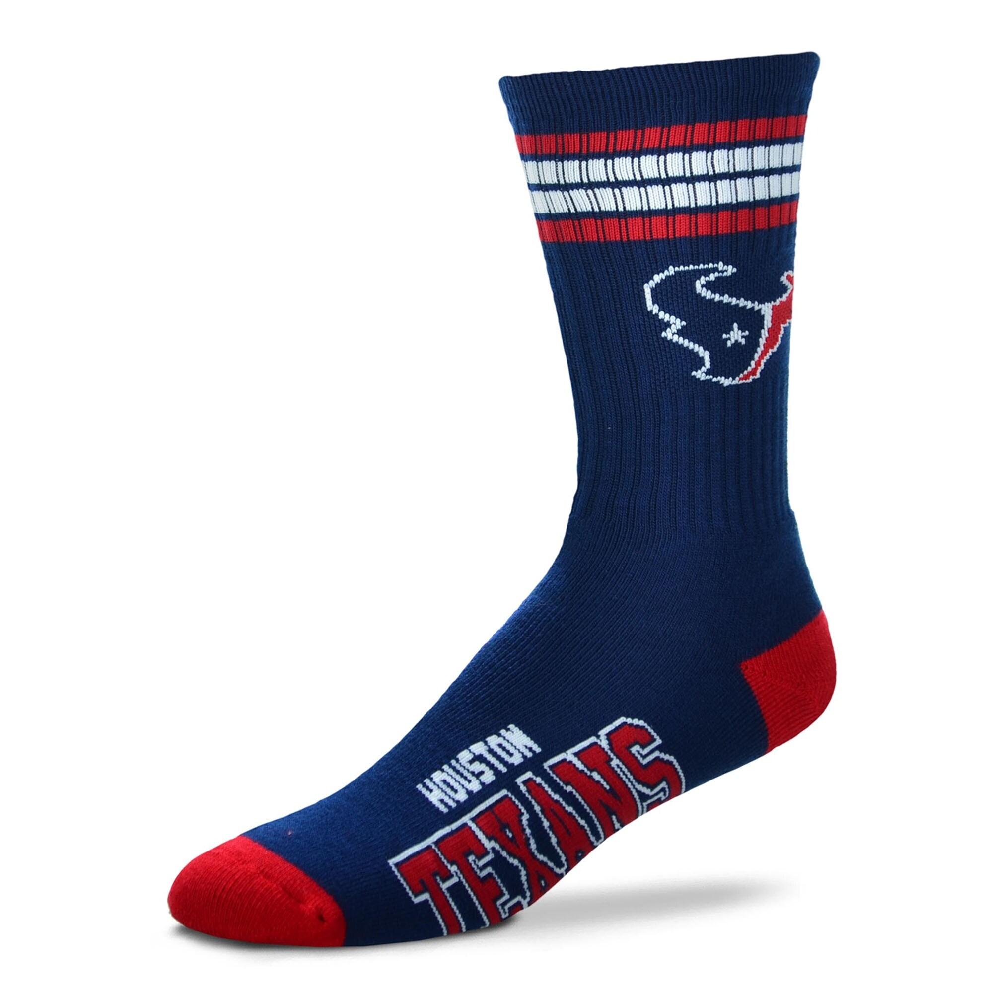 Houston Texans For Bare Feet 4-Stripe Deuce Team Color Performance Crew Socks