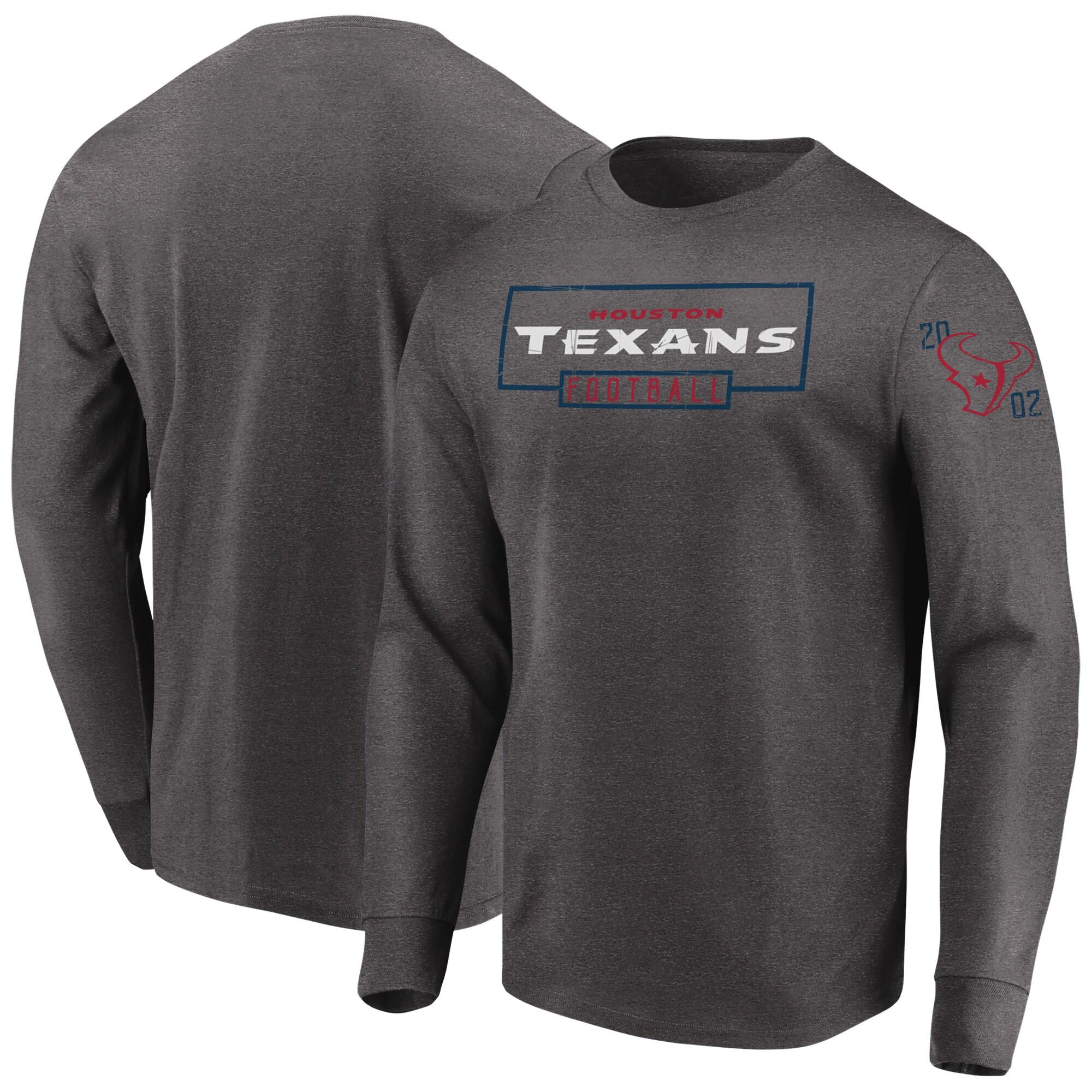 Houston Texans Majestic Kick Return Long Sleeve T-Shirt - Heathered Charcoal