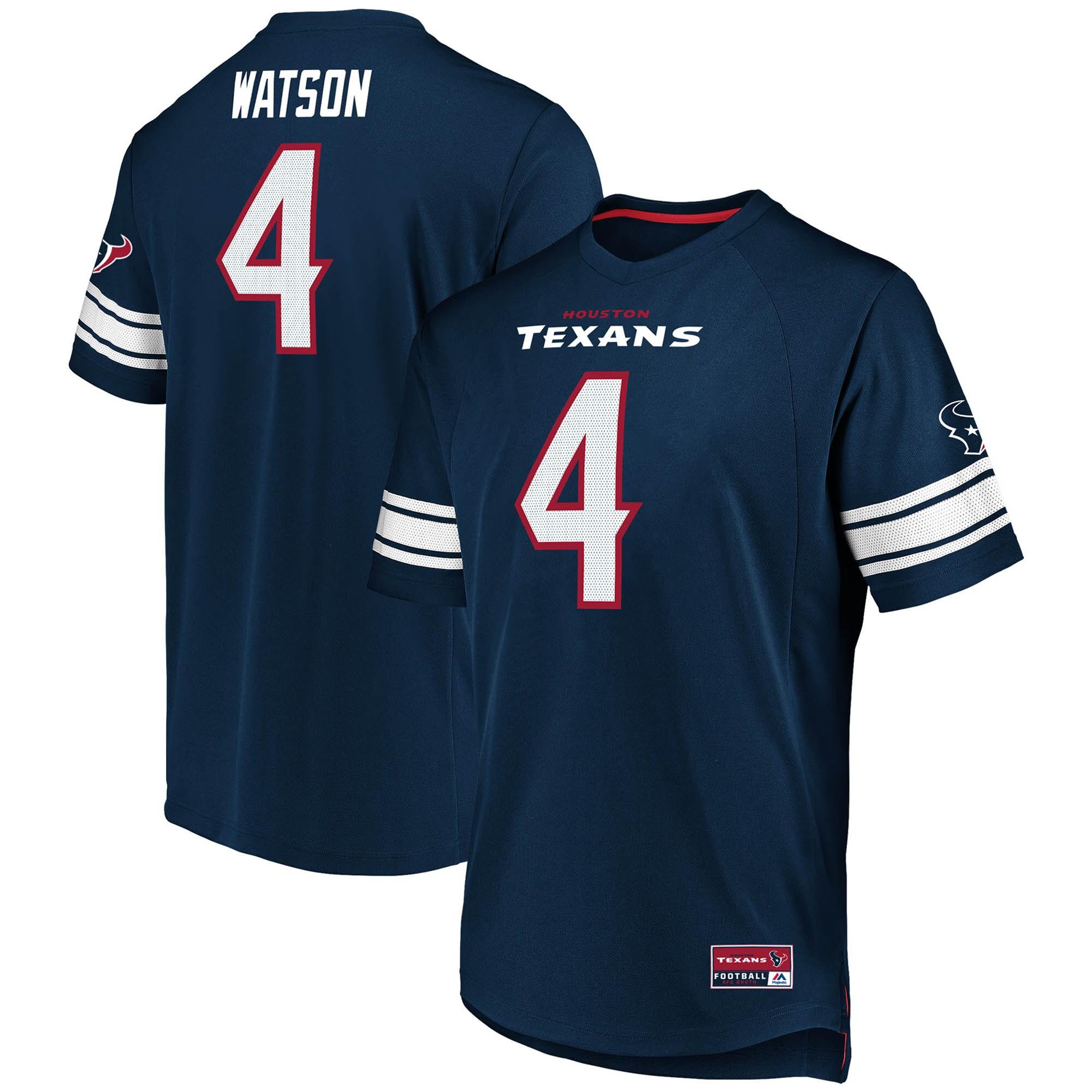 Deshaun Watson Houston Texans Fanatics Branded Hashmark Player Name & Number V-Neck T-Shirt - Navy