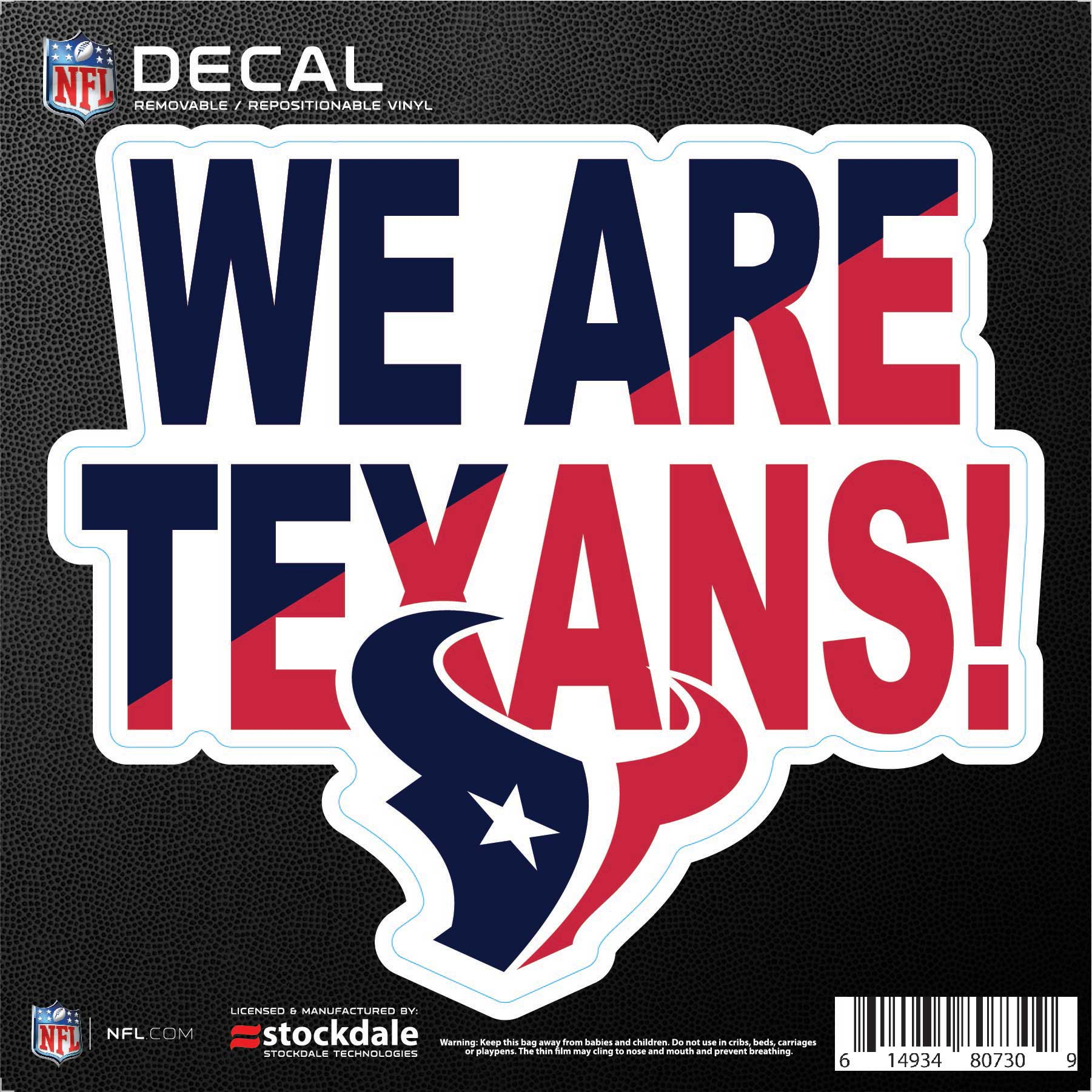 """Houston Texans 6"""" x 6"""" Xpression Full Color Repositionable Decal"""