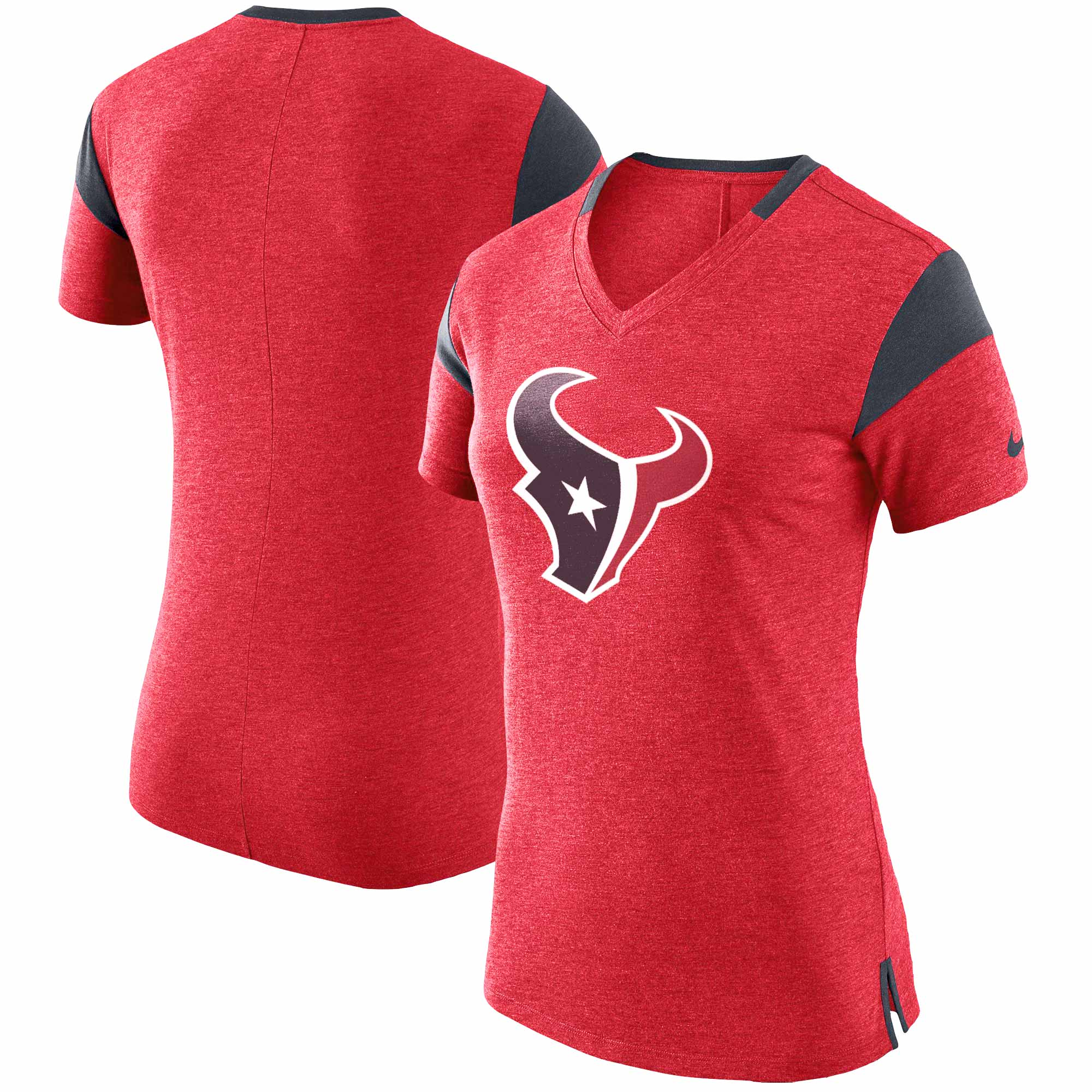 Houston Texans Nike Women's Fan V-Neck T-Shirt - Heathered Red