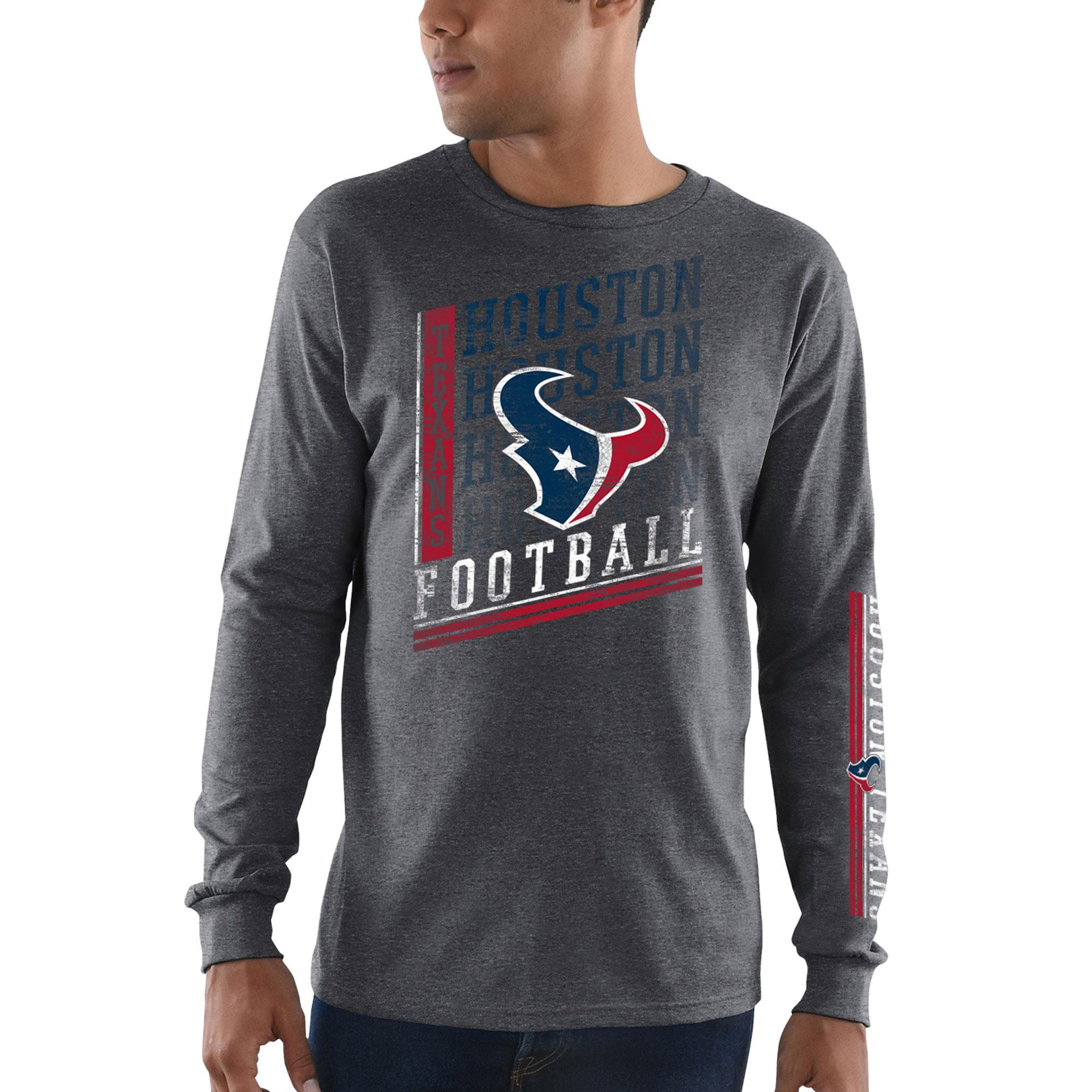 Houston Texans Majestic Dual Threat Long Sleeve T-Shirt - Heathered Charcoal