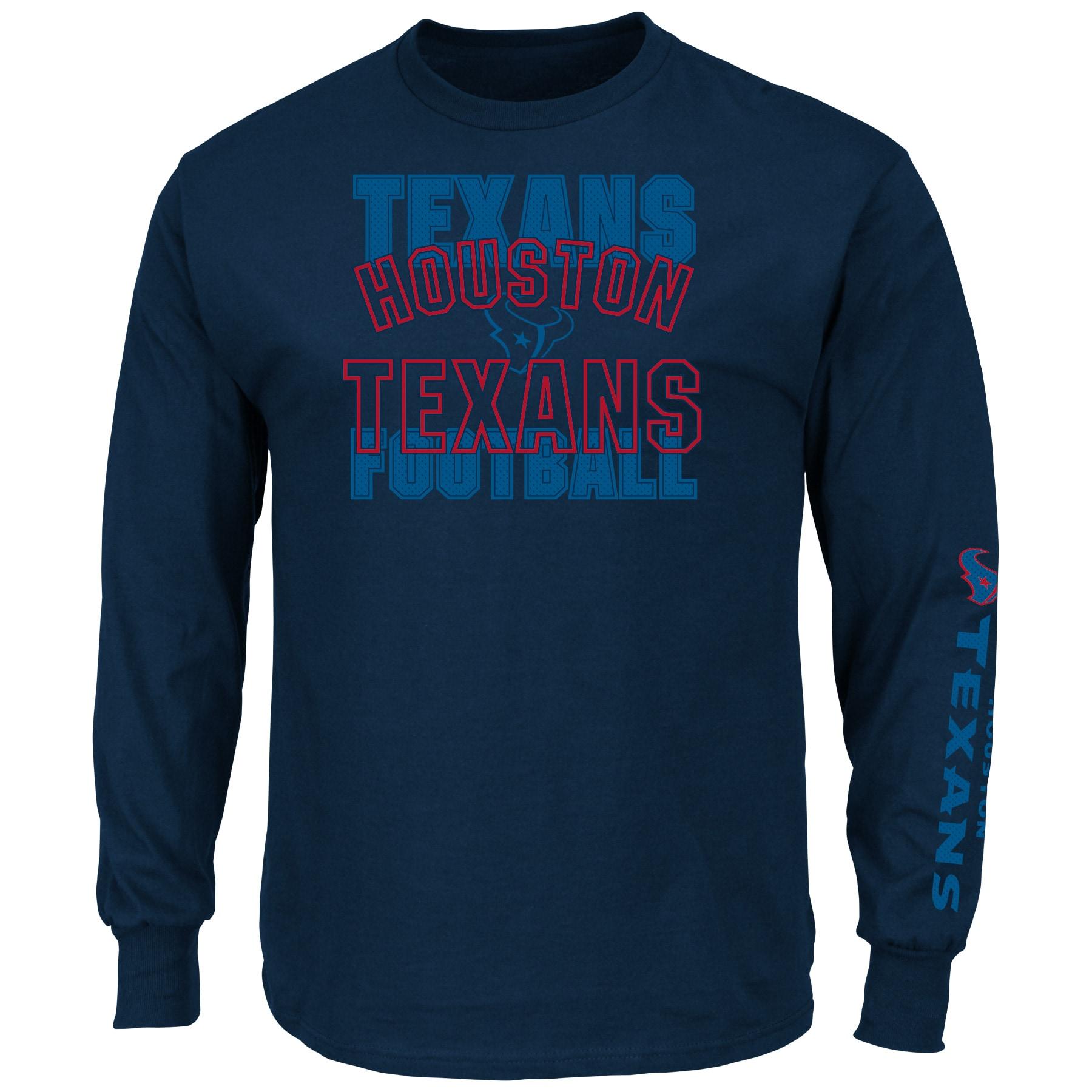 Houston Texans Majestic Primary Receiver Slogan Long Sleeve T-Shirt - Navy