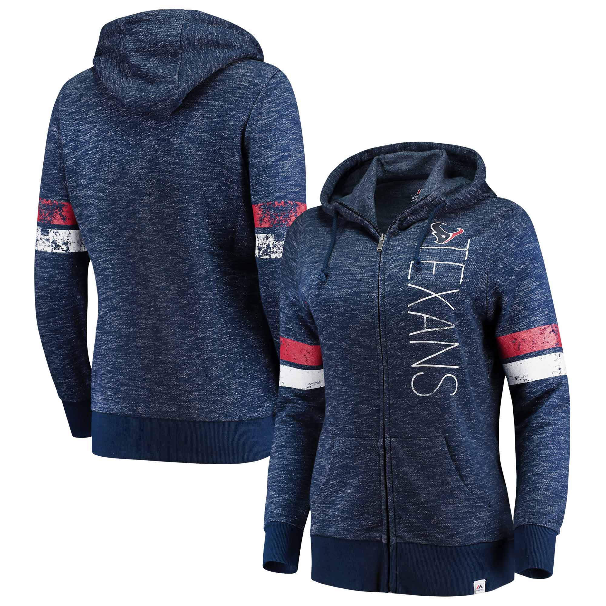 Houston Texans Majestic Women's Athletic Tradition Full-Zip Hoodie - Heathered Navy
