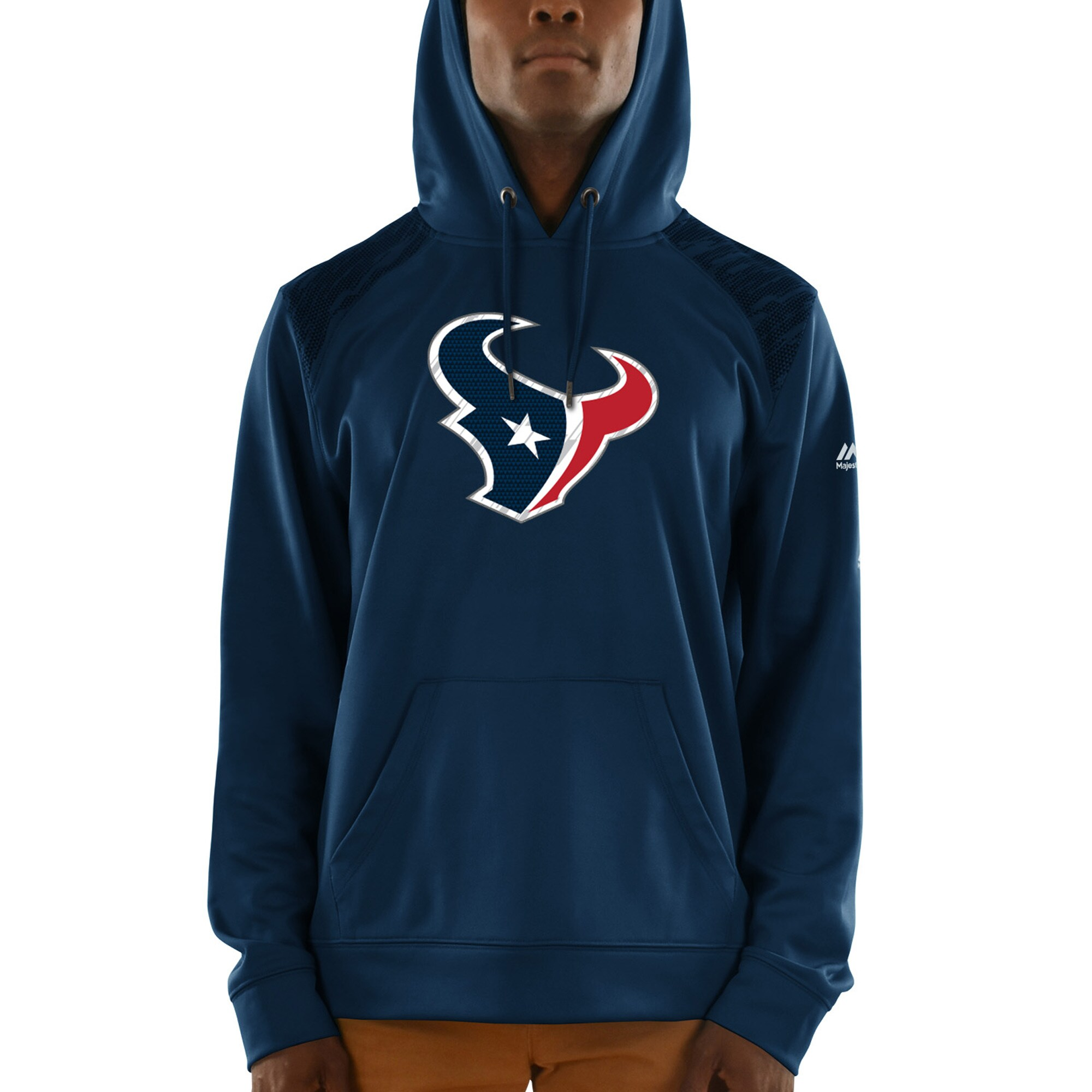 Houston Texans Majestic Armor Synthetic Pullover Hoodie - Navy