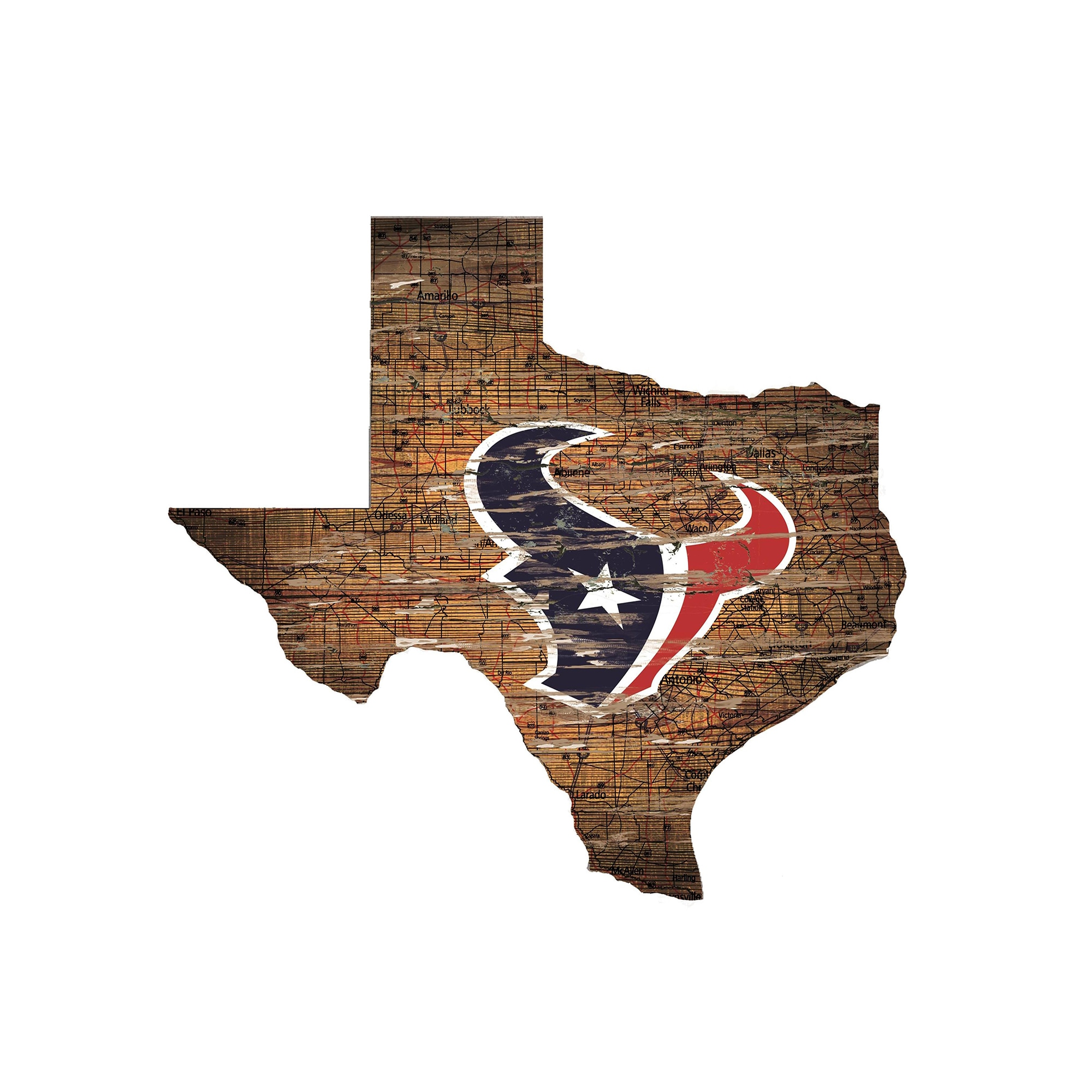 """Houston Texans 23.5"""" x 23.5"""" Distressed State with Logo Sign"""