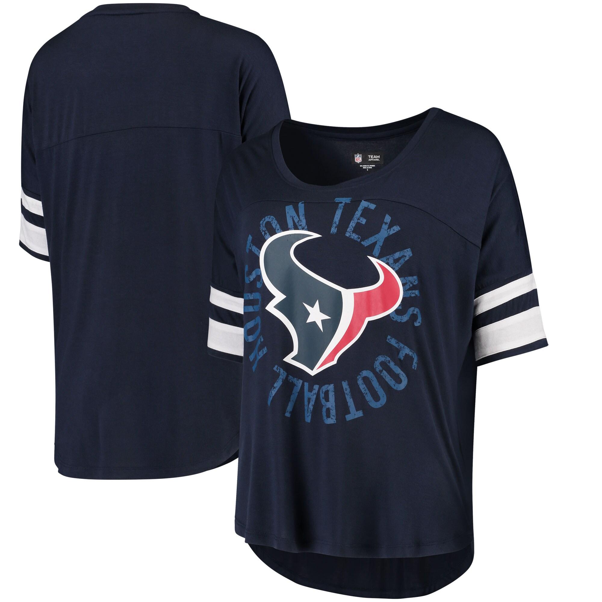 Houston Texans 5th & Ocean by New Era Women's Novelty Dolman Sleeve Scoop Neck T-Shirt - Navy